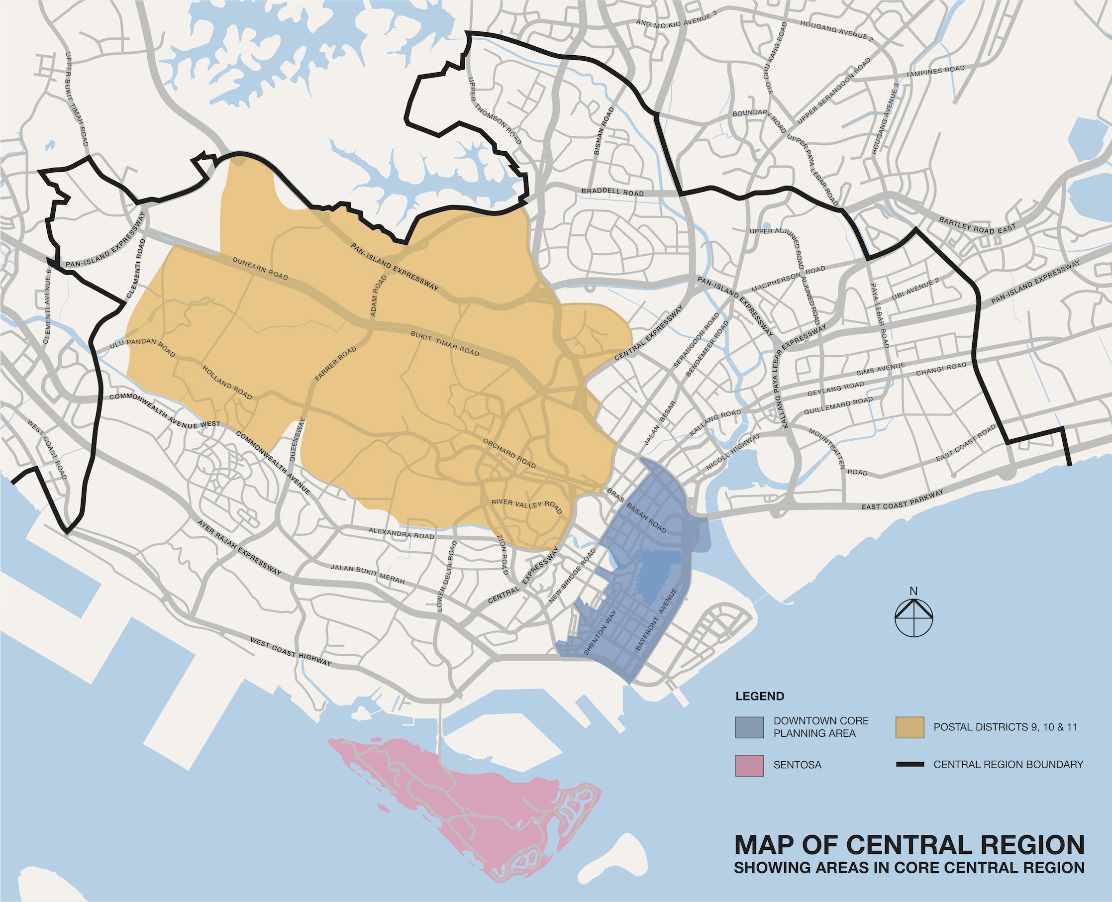 新加坡高端住宅市场和核心中央区地图 core central regin