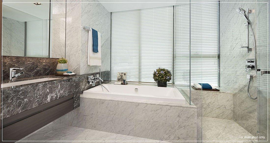 银峰公寓单位的浴室,带知名品牌浴缸