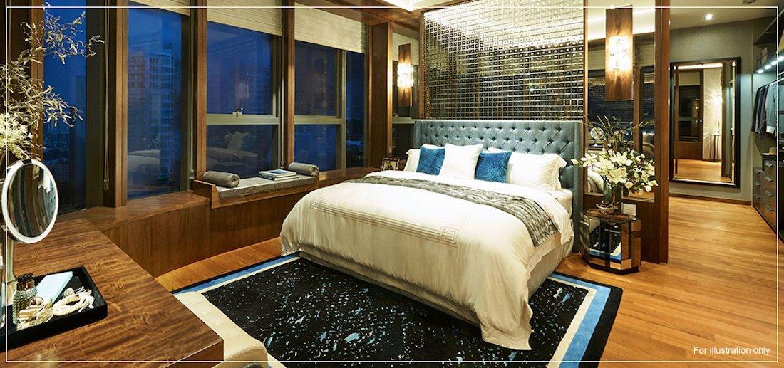 银峰公寓单位带步入式衣橱的卧房