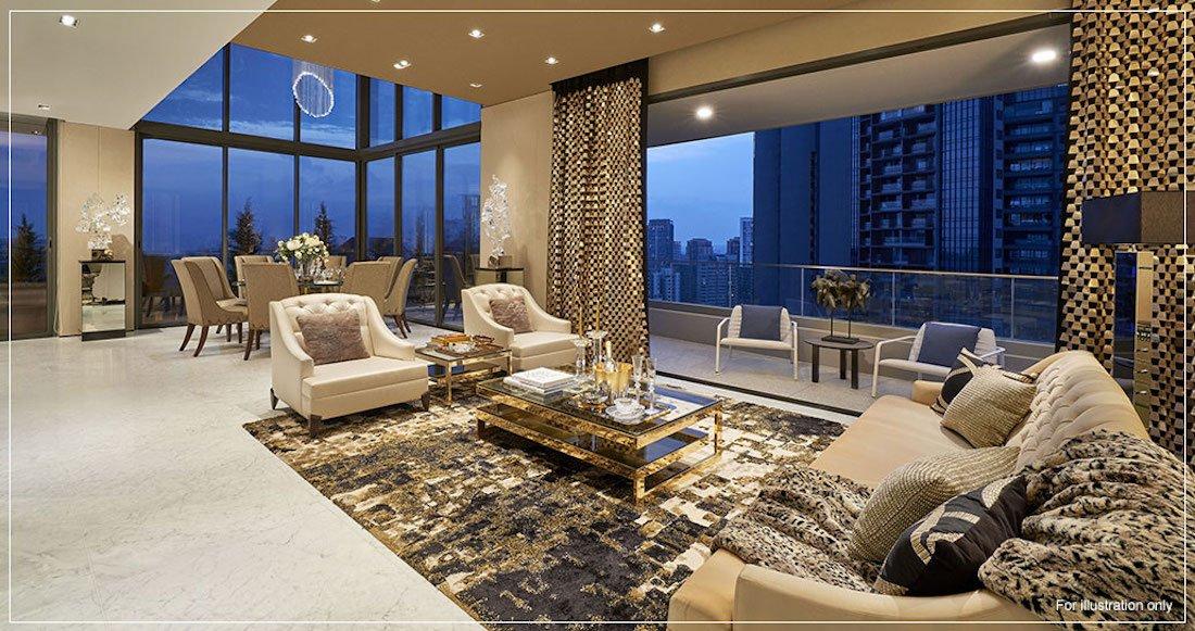 银峰公寓单位宽敞舒适的客厅