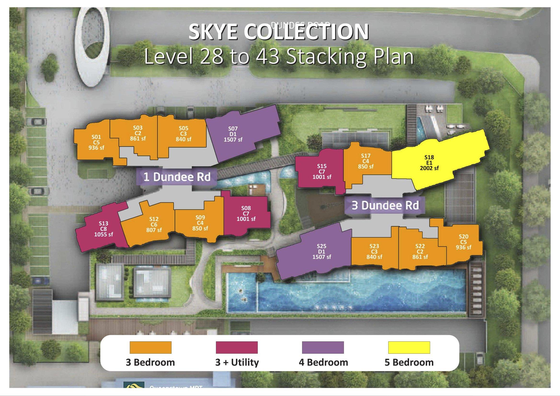 Queens Peak Stack Plan and unit distribution 28-43 storey