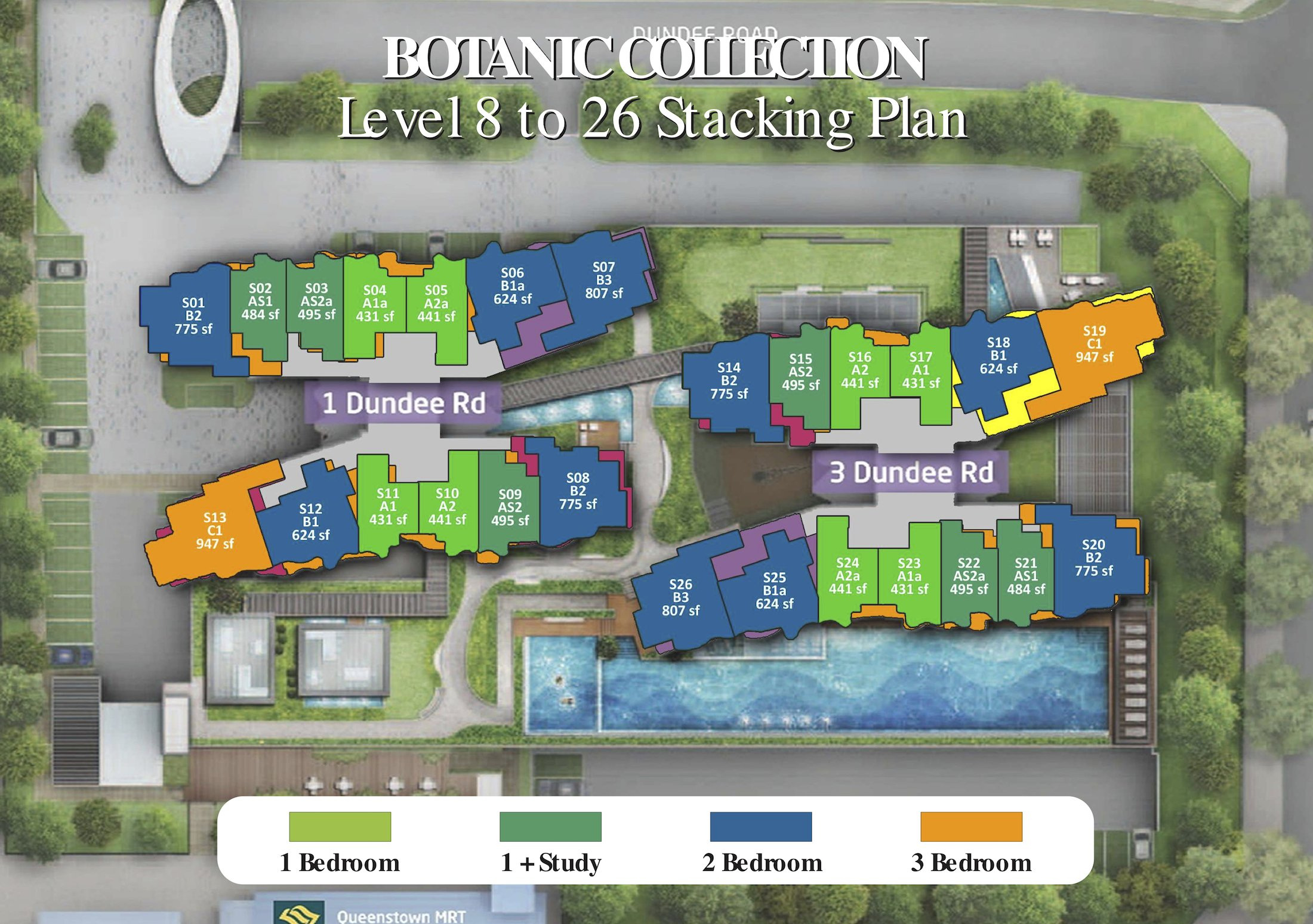 Queens Peak Stack Plan and unit distribution 8-26 storey