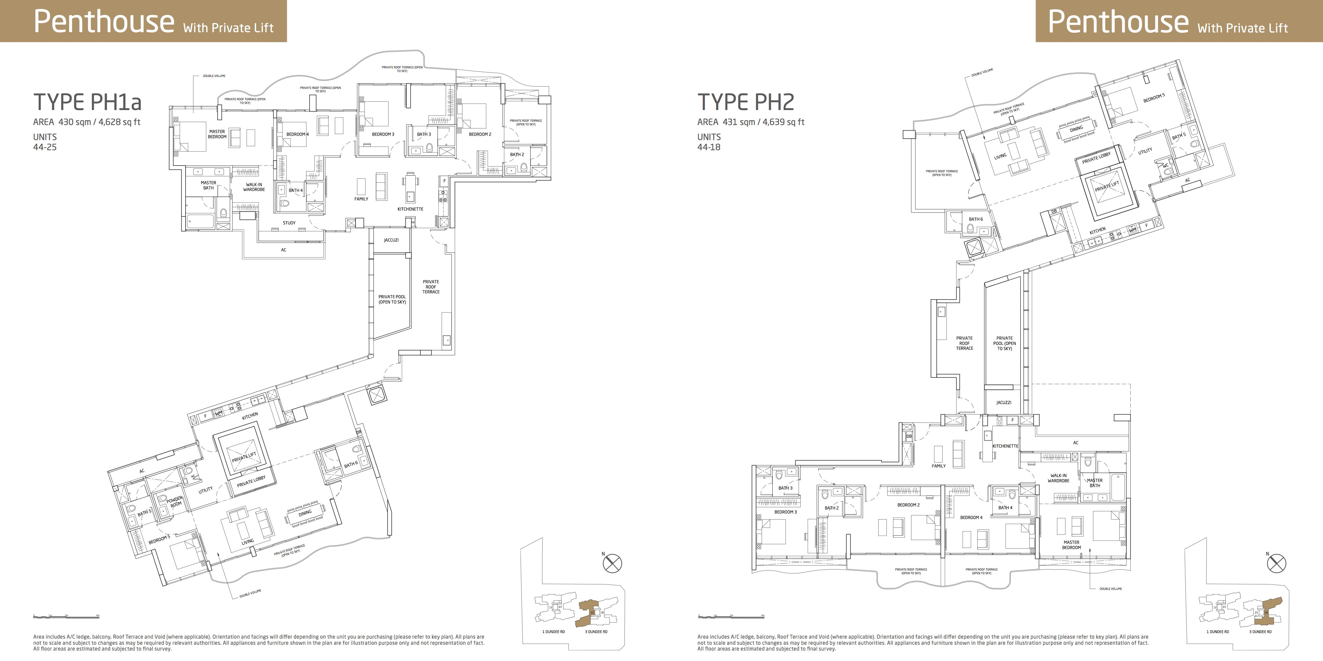 Queens Peak skye collections penthouse PH1a and PH2