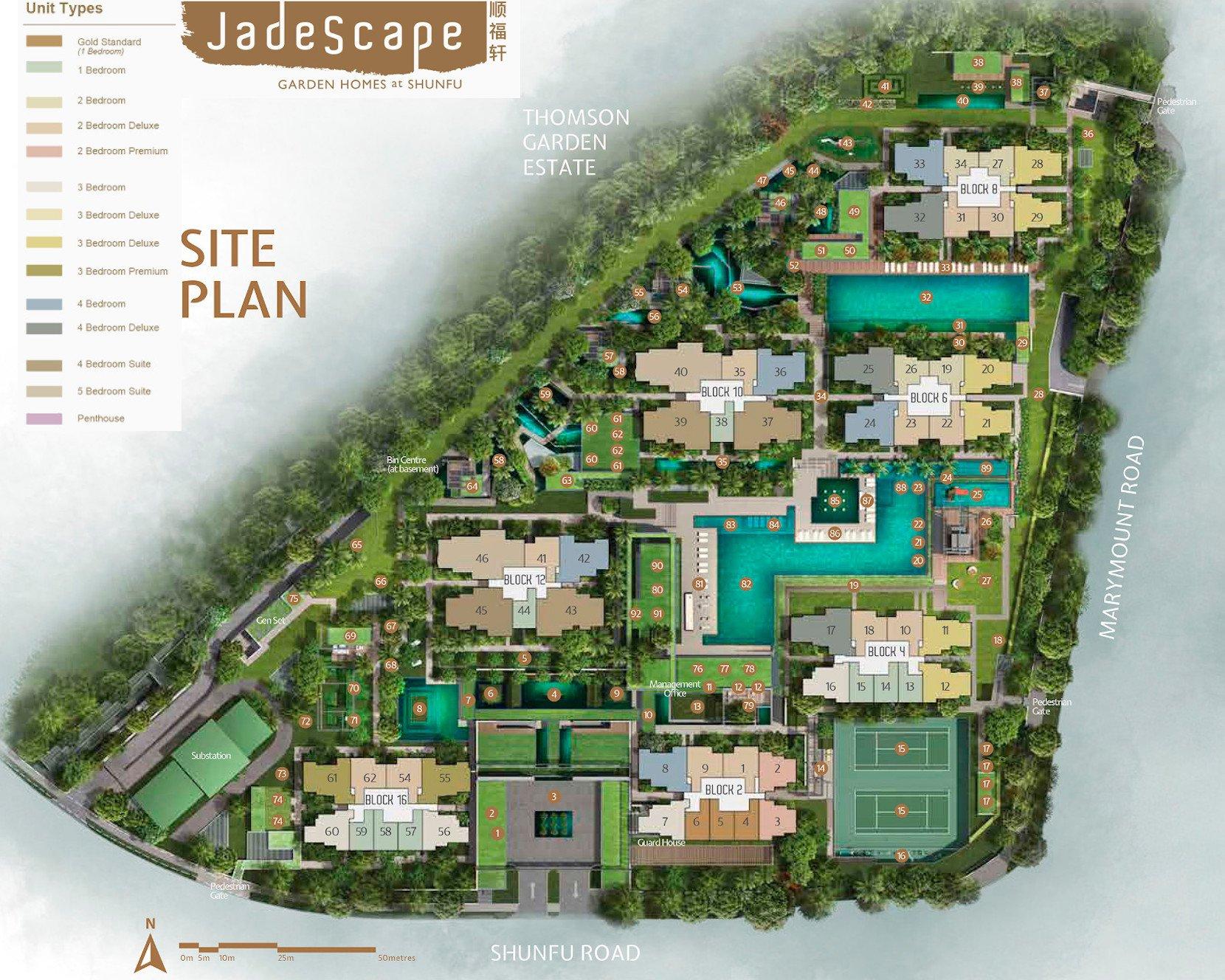 JadeScape Site Plan landscape facilities unit mix