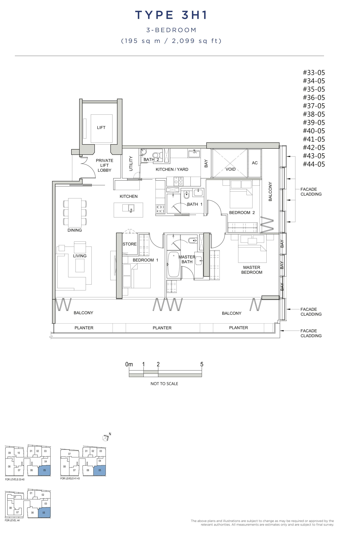 风华南岸府-South Beach Residences 公寓3 bedroom floor plan 3H1 3卧房单位户型图