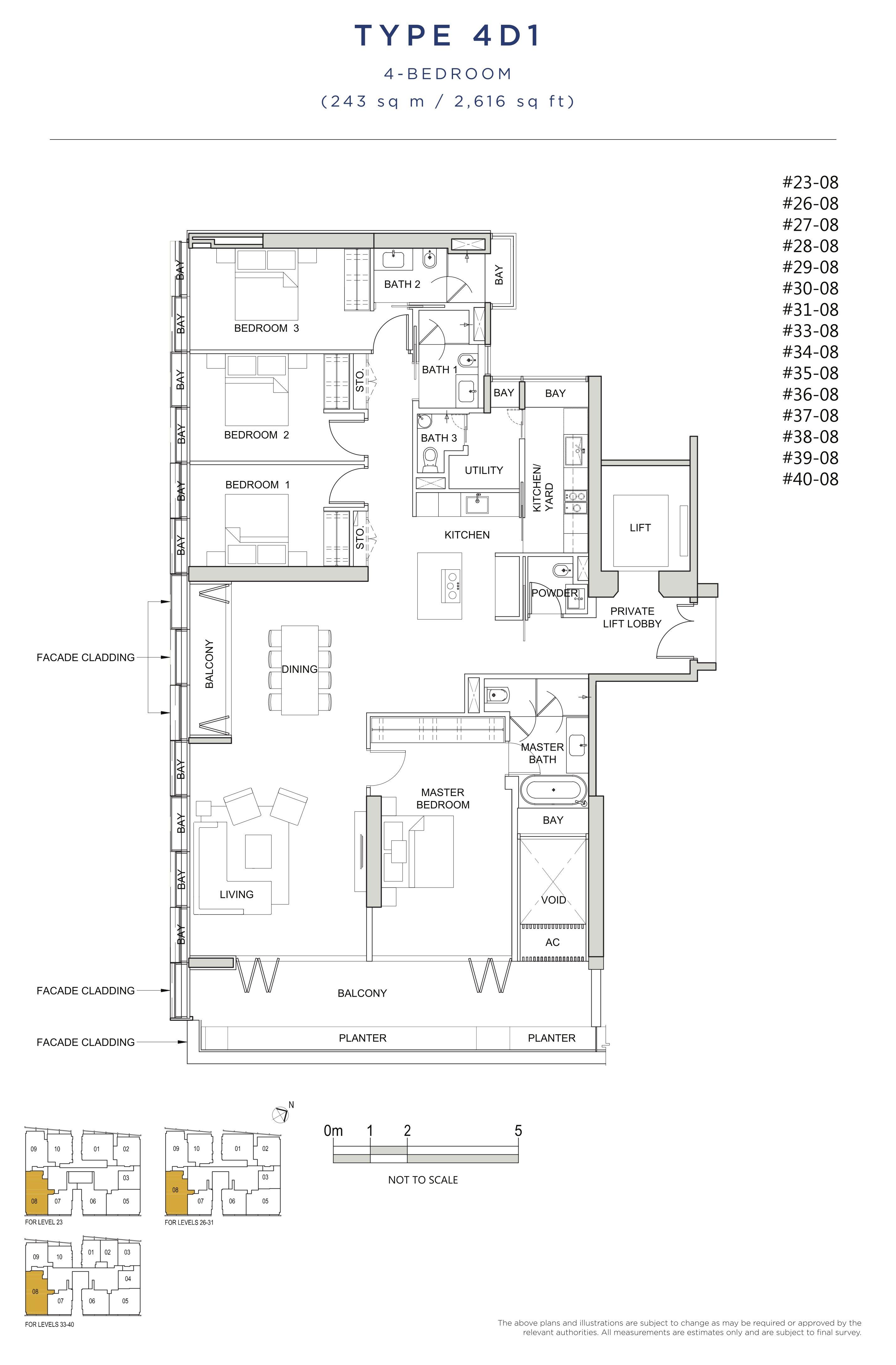 风华南岸府-South Beach Residences 公寓4 bedroom floor plan 4D1 4卧房单位户型图