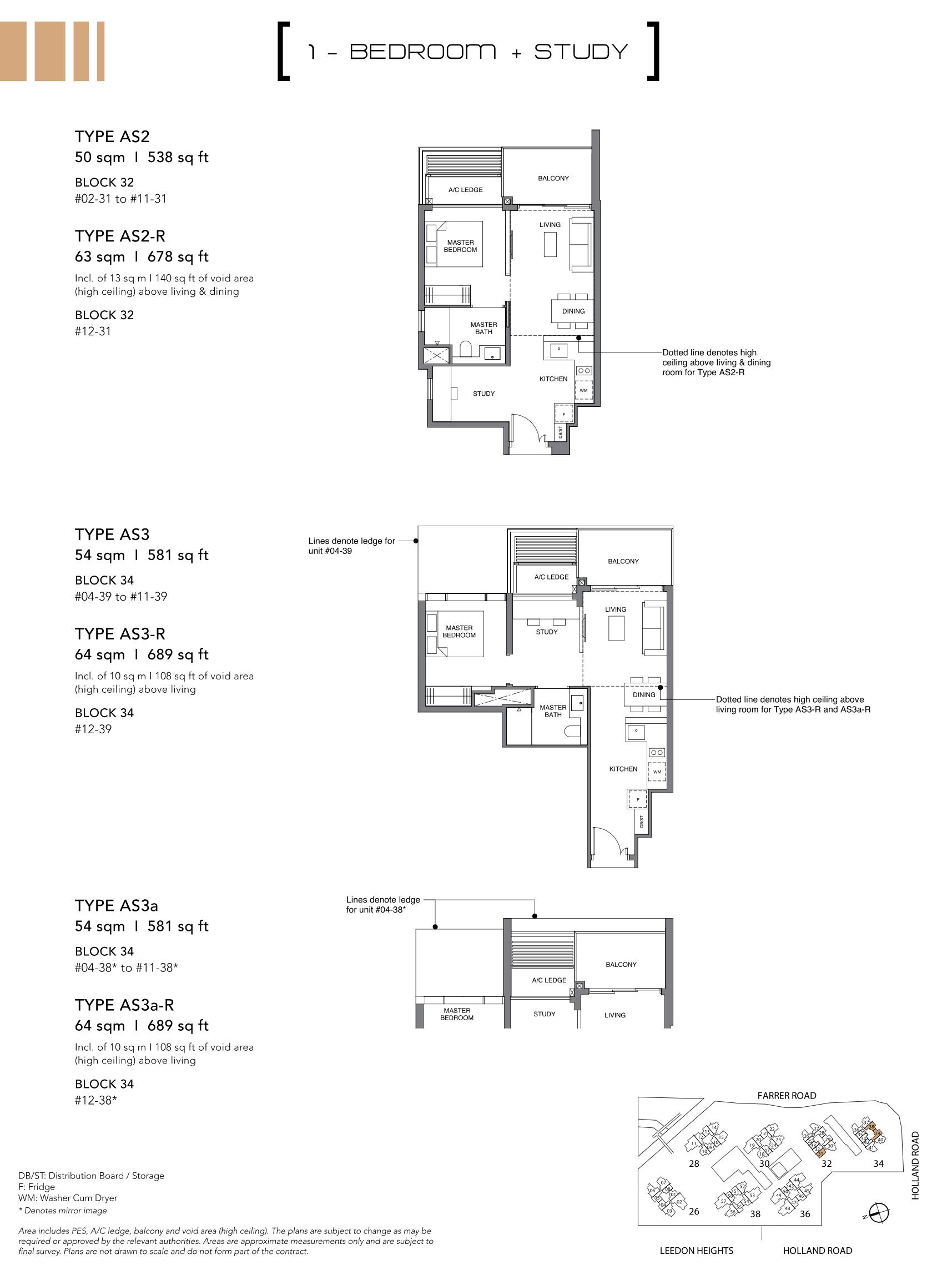 绿墩雅苑公寓户型图 Leedon Green floor plan 1 bedroom + study AS2