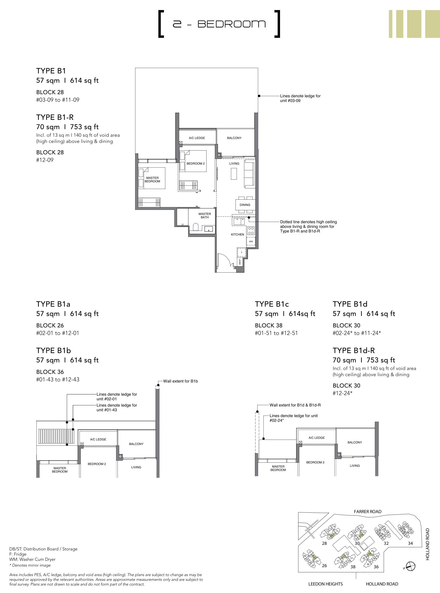 绿墩雅苑公寓户型图 Leedon Green floor plan 2 bedroom b1