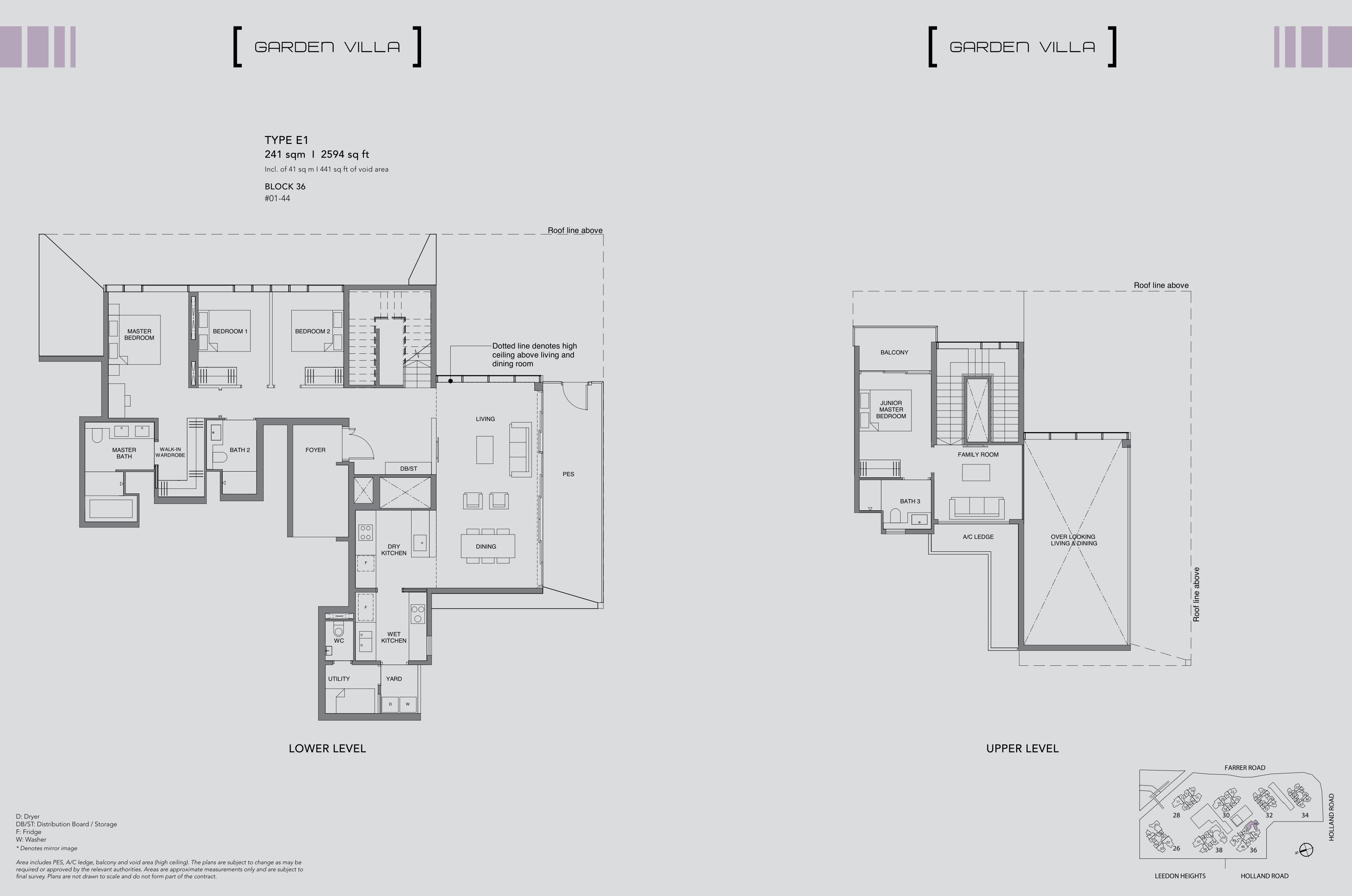 绿墩雅苑公寓户型图 Leedon Green floor plan Garden villa 4 Bedroom E1
