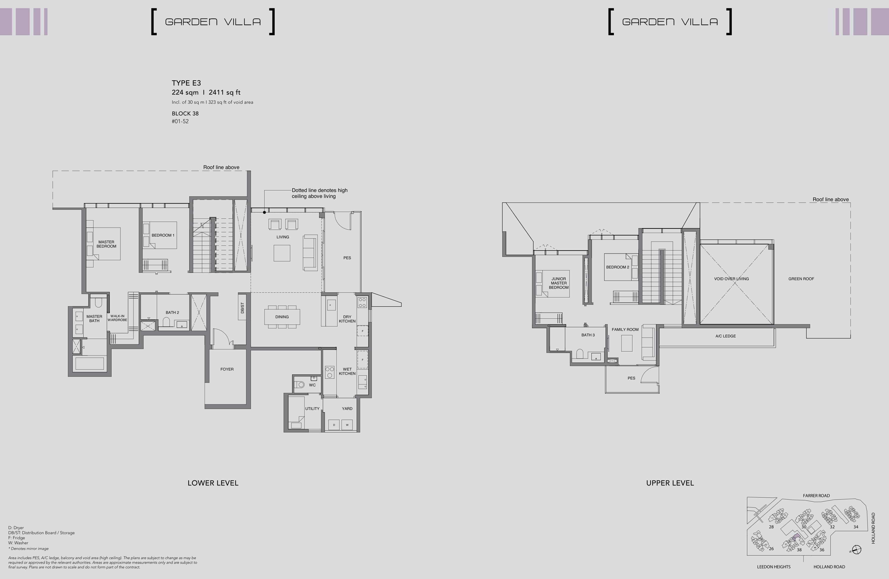 绿墩雅苑公寓户型图 Leedon Green floor plan Garden villa 4 Bedroom E3