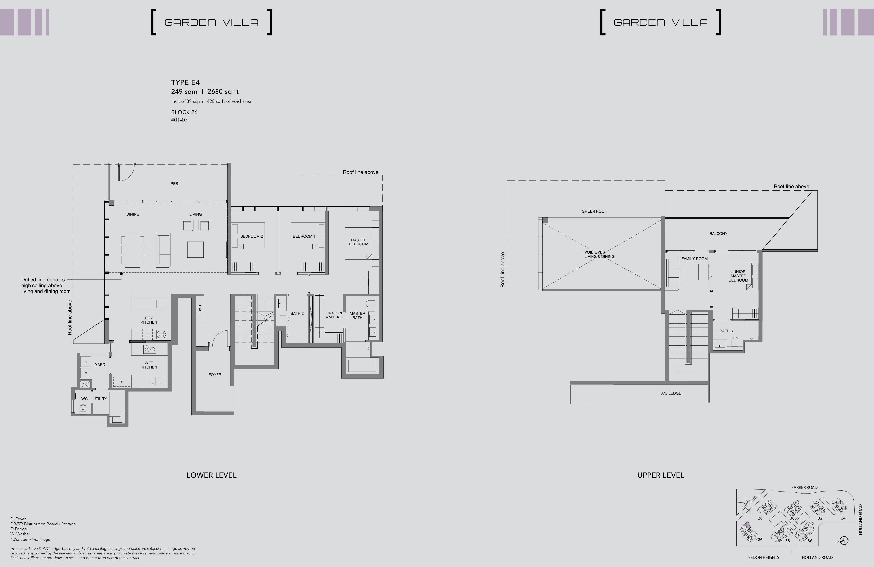 绿墩雅苑公寓户型图 Leedon Green floor plan Garden villa 4 Bedroom E4