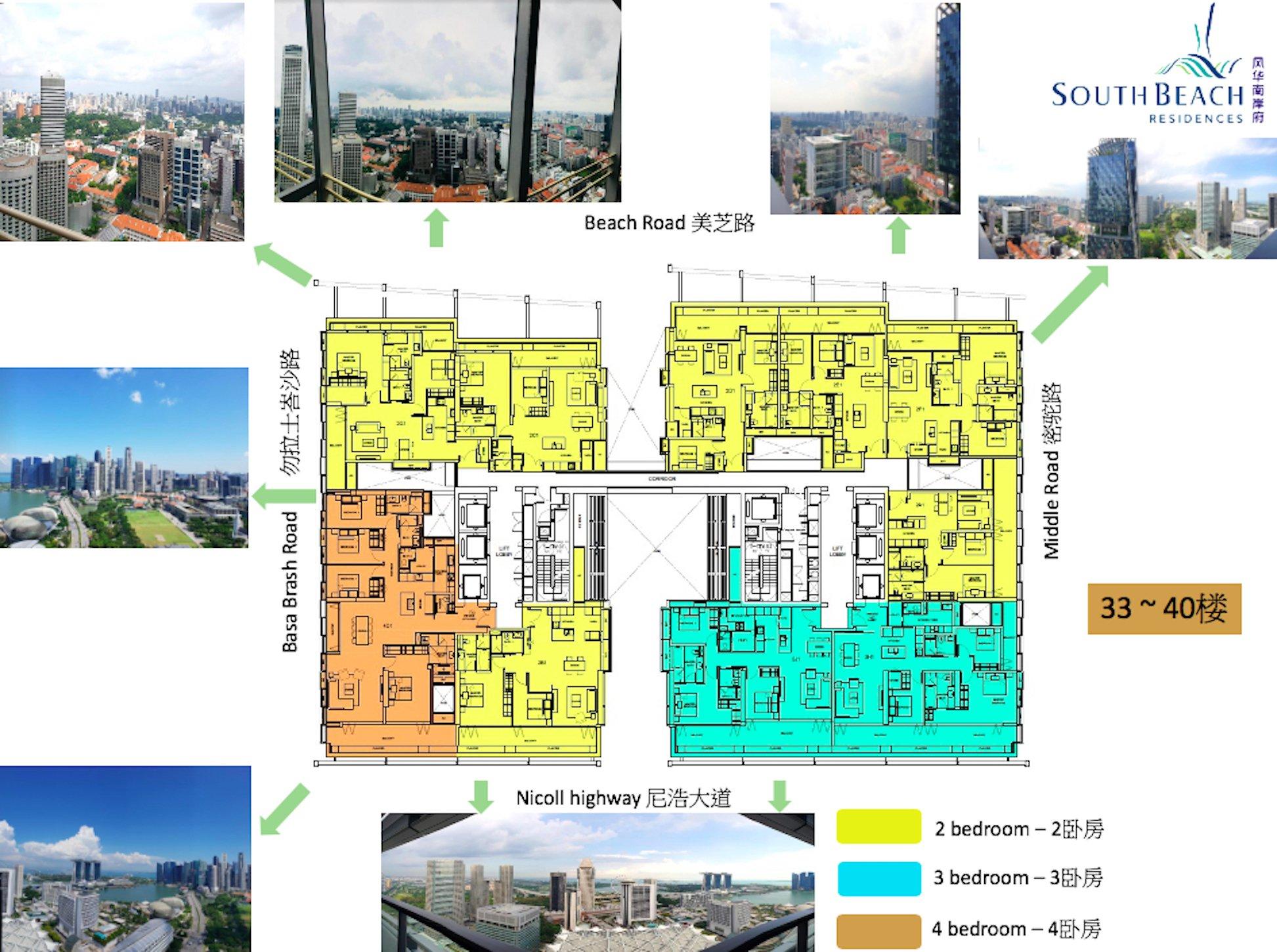 South Beach Residences-风华南岸府33-40楼户型方向区位图