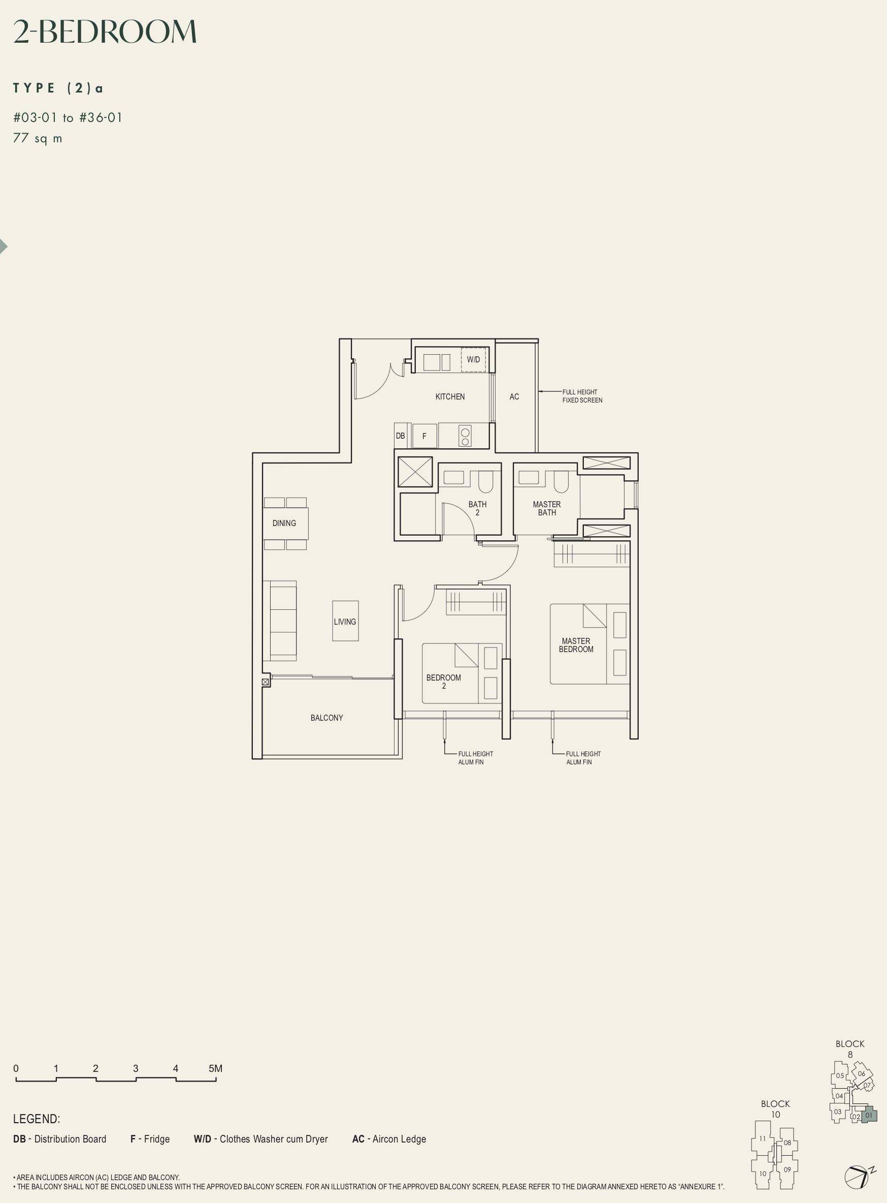 The Avenir 2 bedroom 2a floor plan