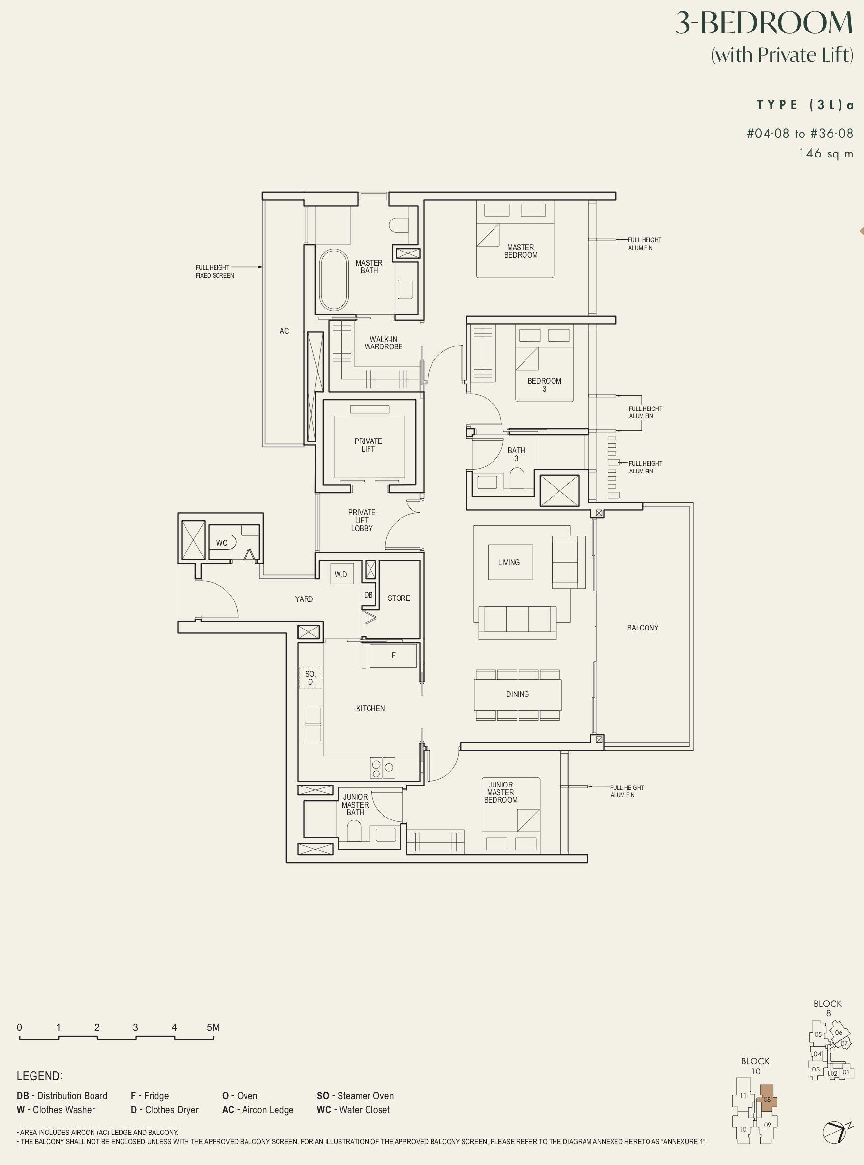 The Avenir 3 bedroom 3La floor plan