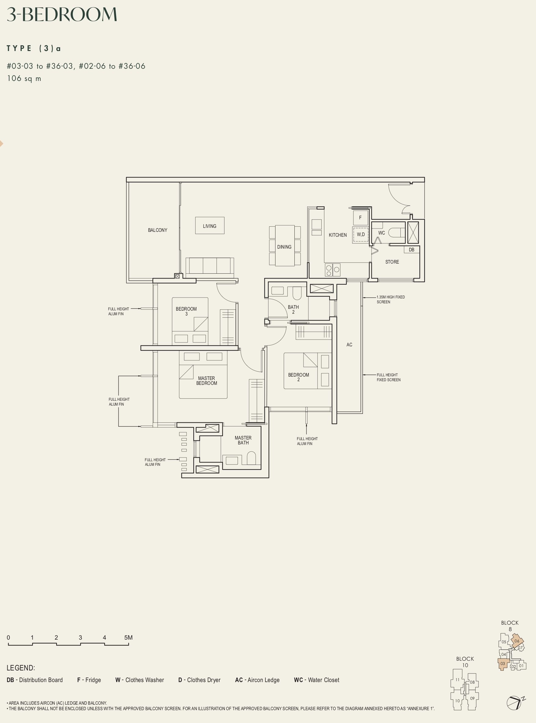 The Avenir 3 bedroom 3a floor plan