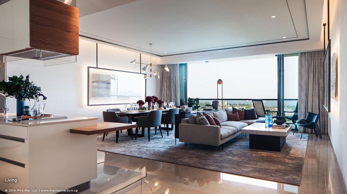 滨海盛景豪苑 marina one residences 4 bedroom living to balcony