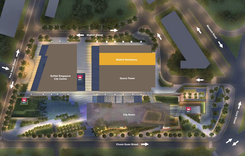 华利世家 wallich residence and tanjong pagar site plan