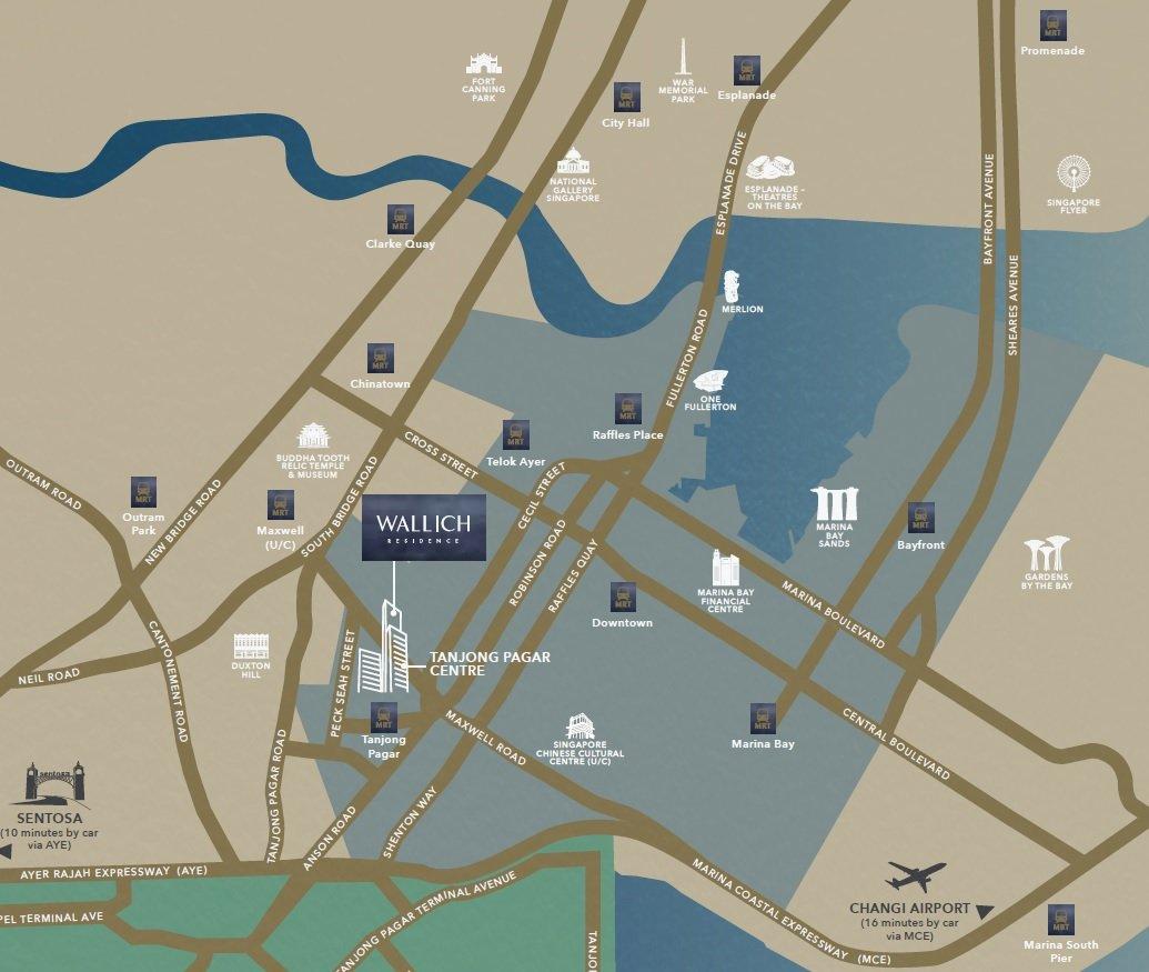 华利世家 wallich residence location map