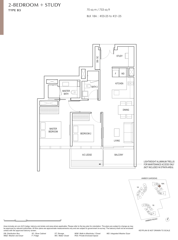 Amber Park 安铂苑 floor plan 2 bedroom + study 2卧房+书房b3