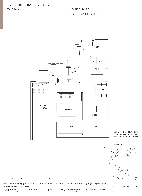 Amber Park 安铂苑 floor plan 2 bedroom + study 2卧房+书房b4a
