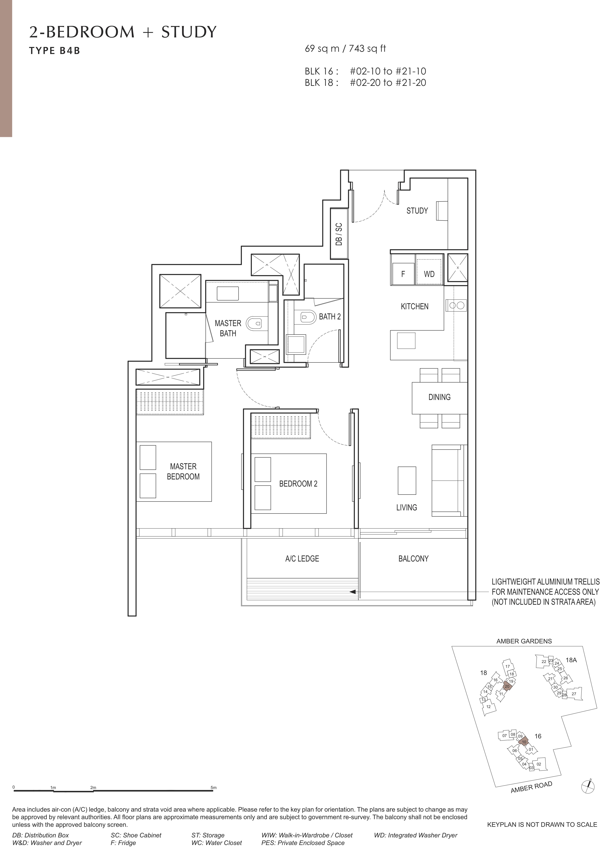 Amber Park 安铂苑 floor plan 2 bedroom + study 2卧房+书房b4b