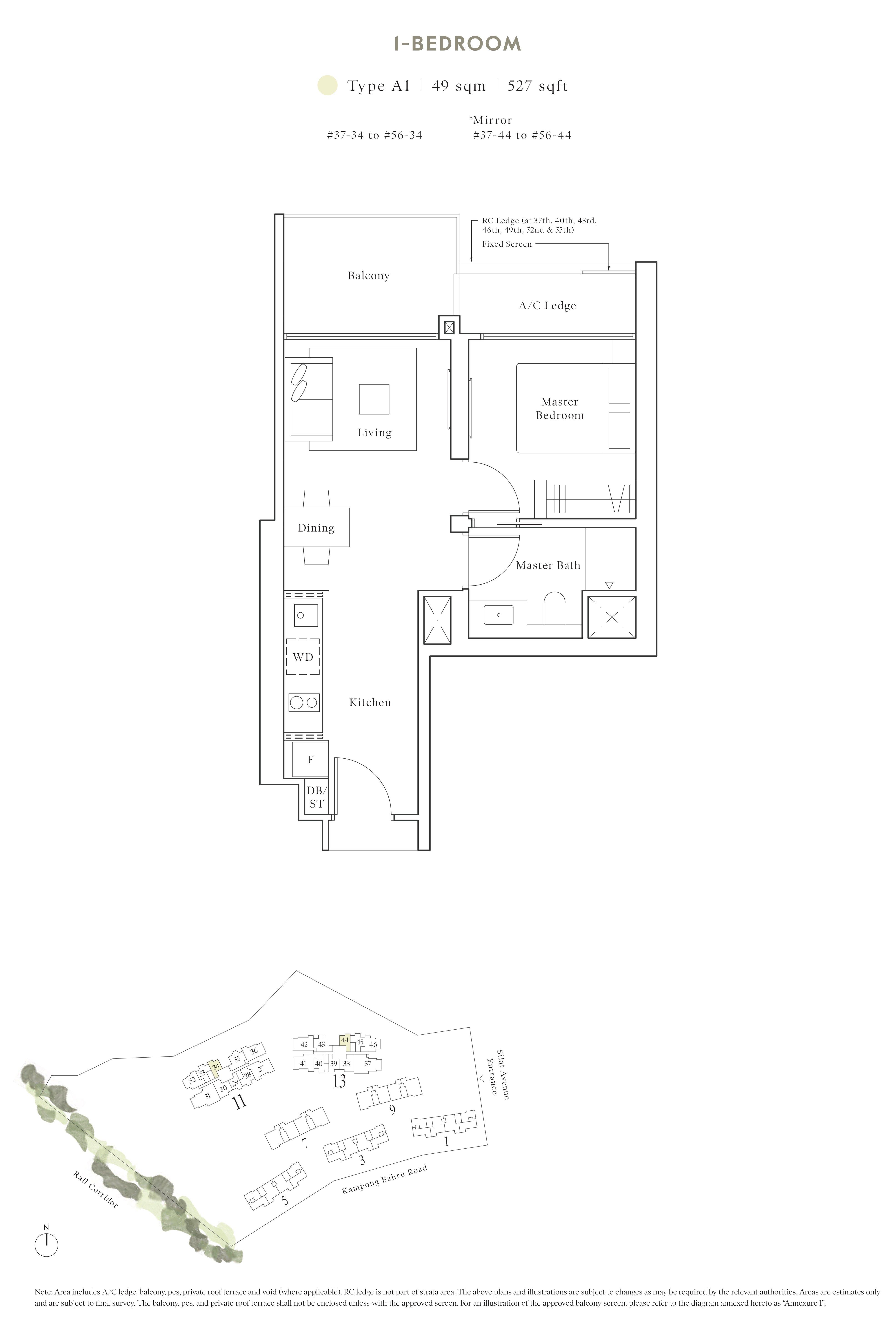 Avenue South Residence 南峰雅苑 peak floor plan 1-bedroom a1