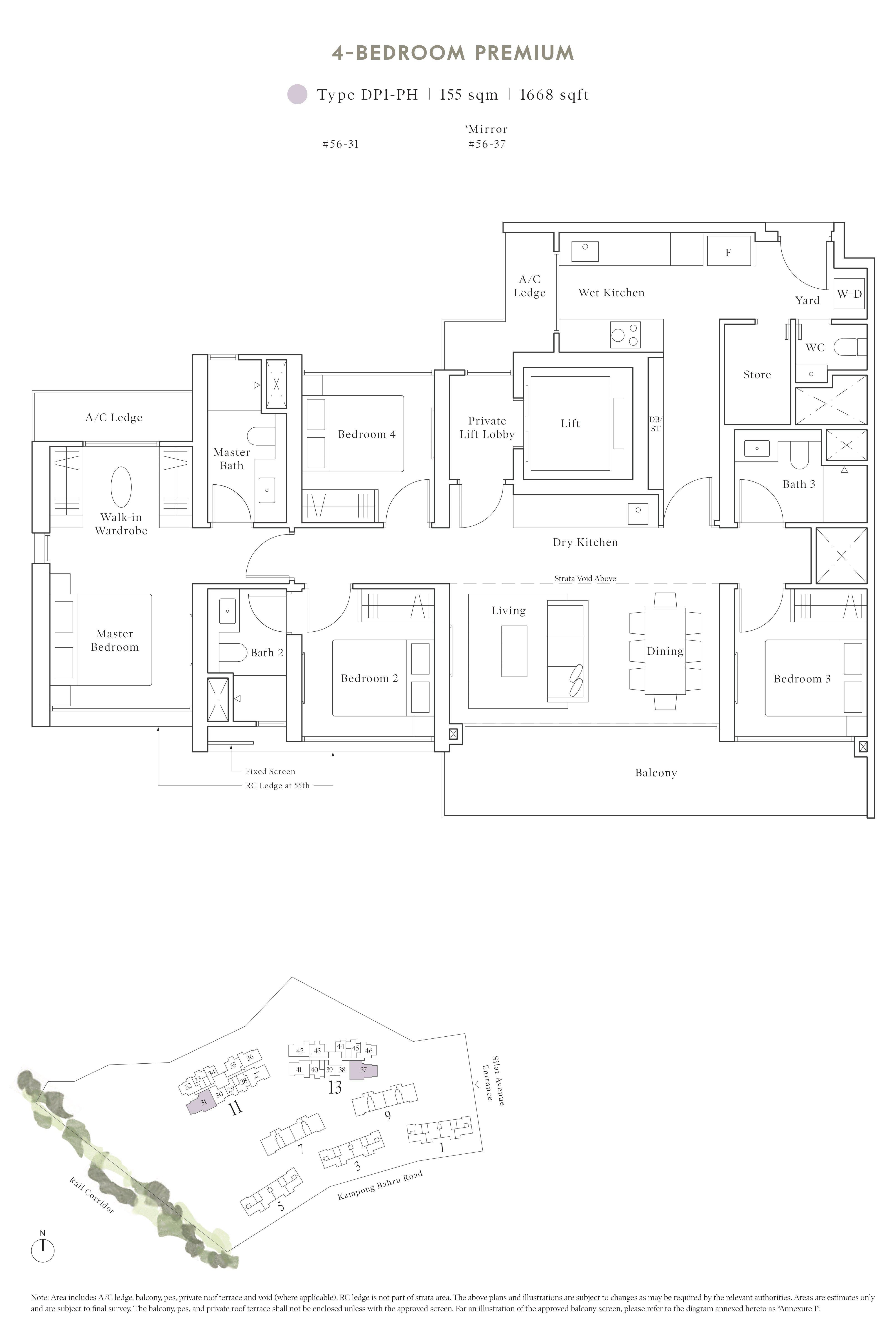 Avenue South Residence 南峰雅苑 peak floor plan 3-bedroom penthouse dp1-ph