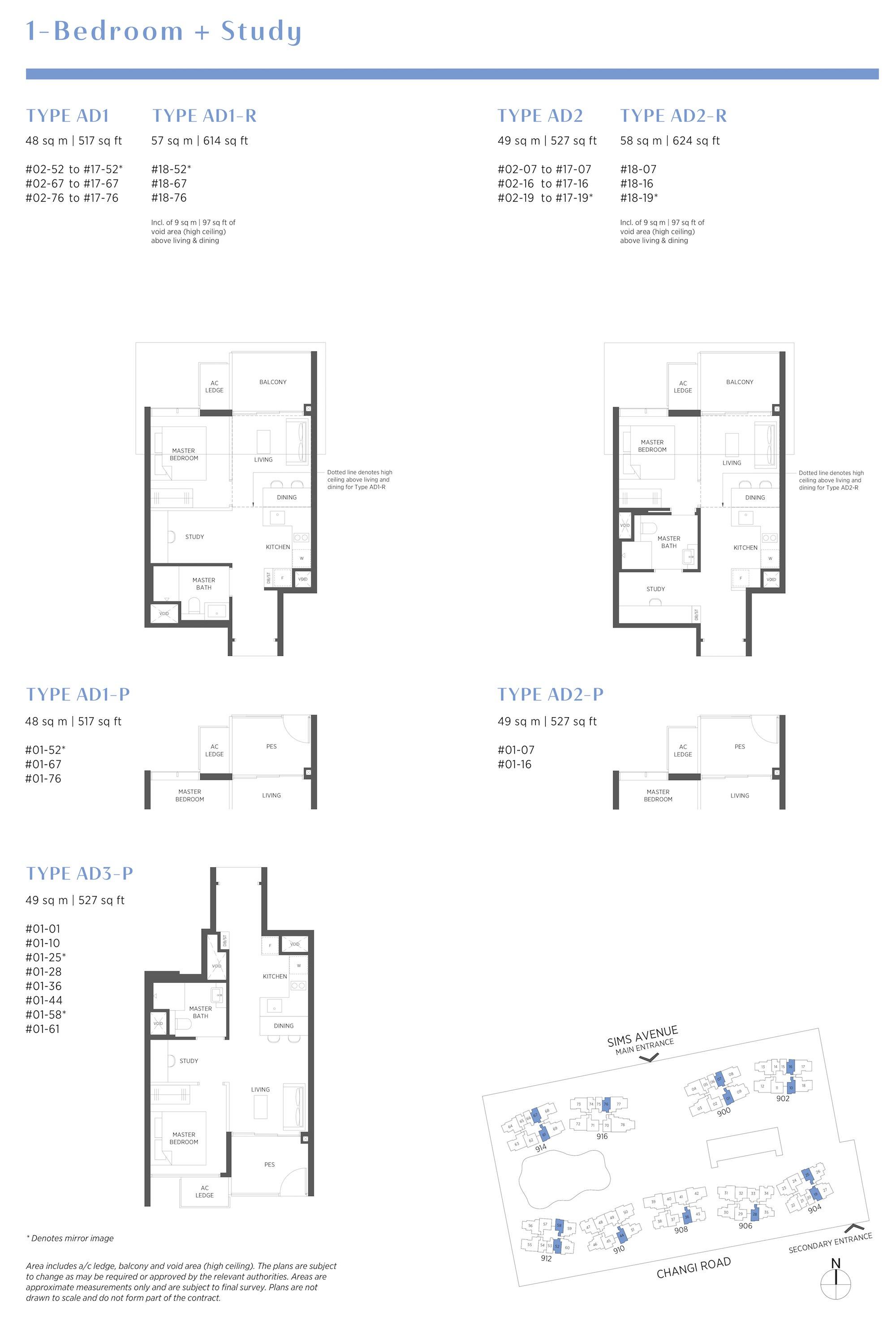 Parc Esta 东景苑 1 bedroom+study 1卧房+书房 AD1 AD2