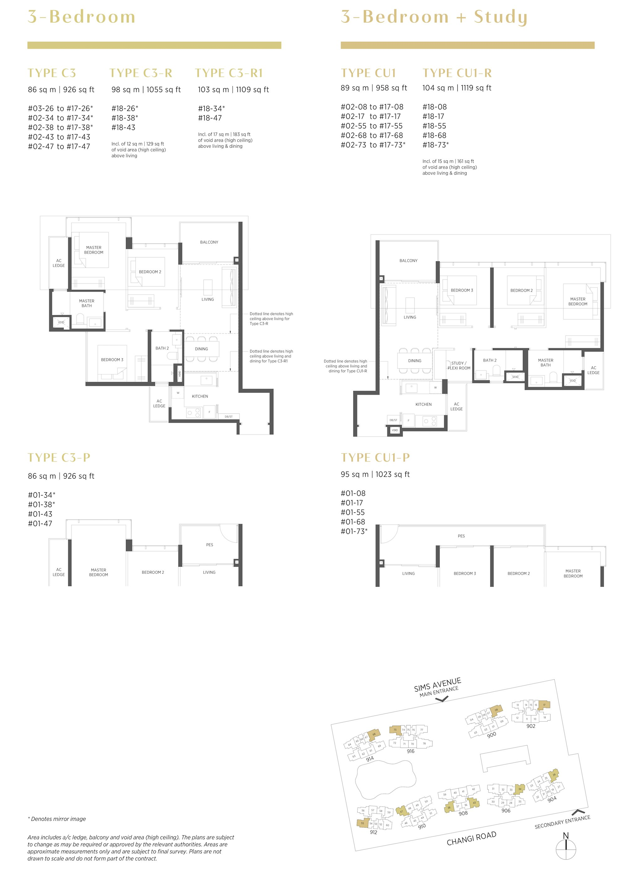 Parc Esta 东景苑 3 bedroom -书房 3卧房-书房 C3 CU1