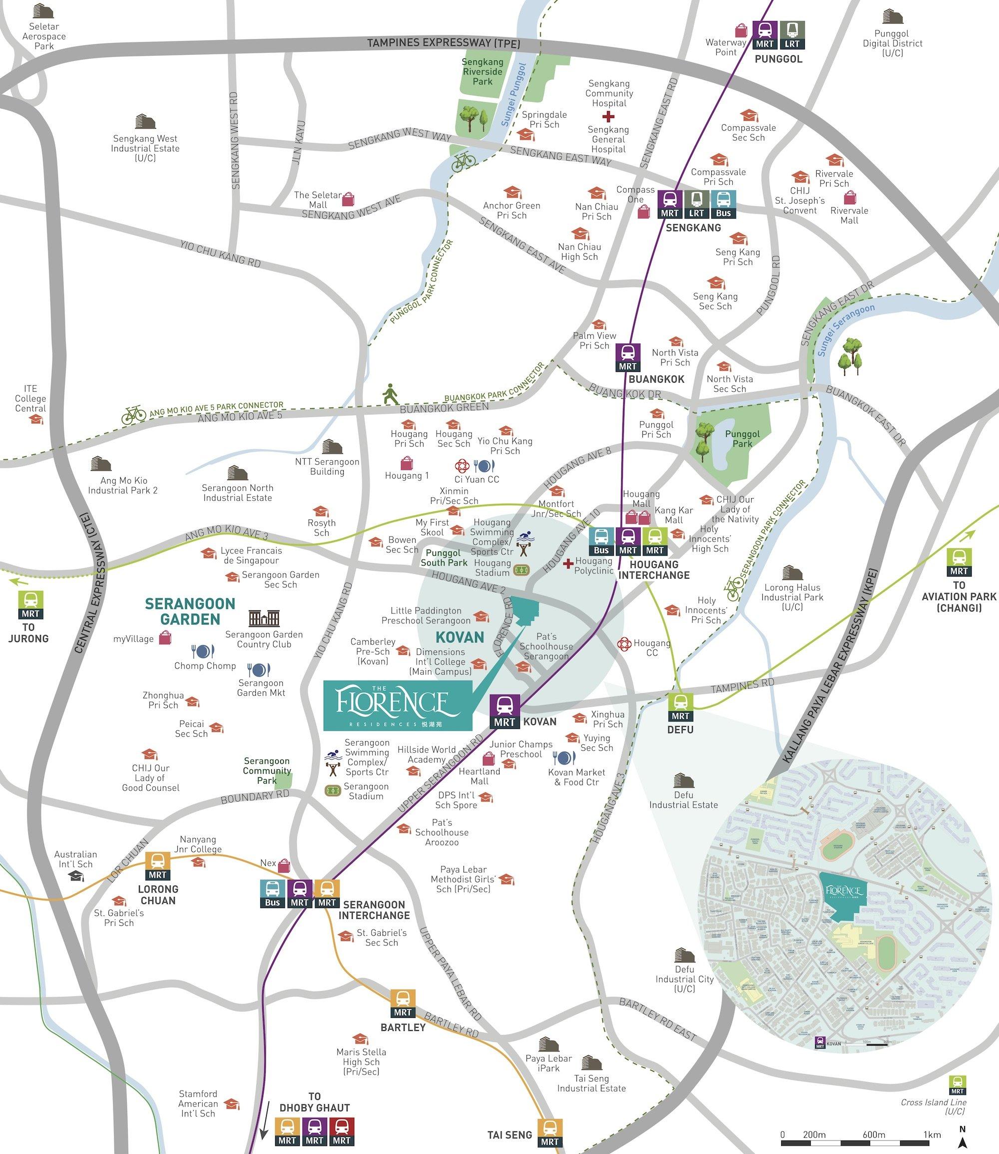 The Florence Residences 悦湖苑 地理位置 location map