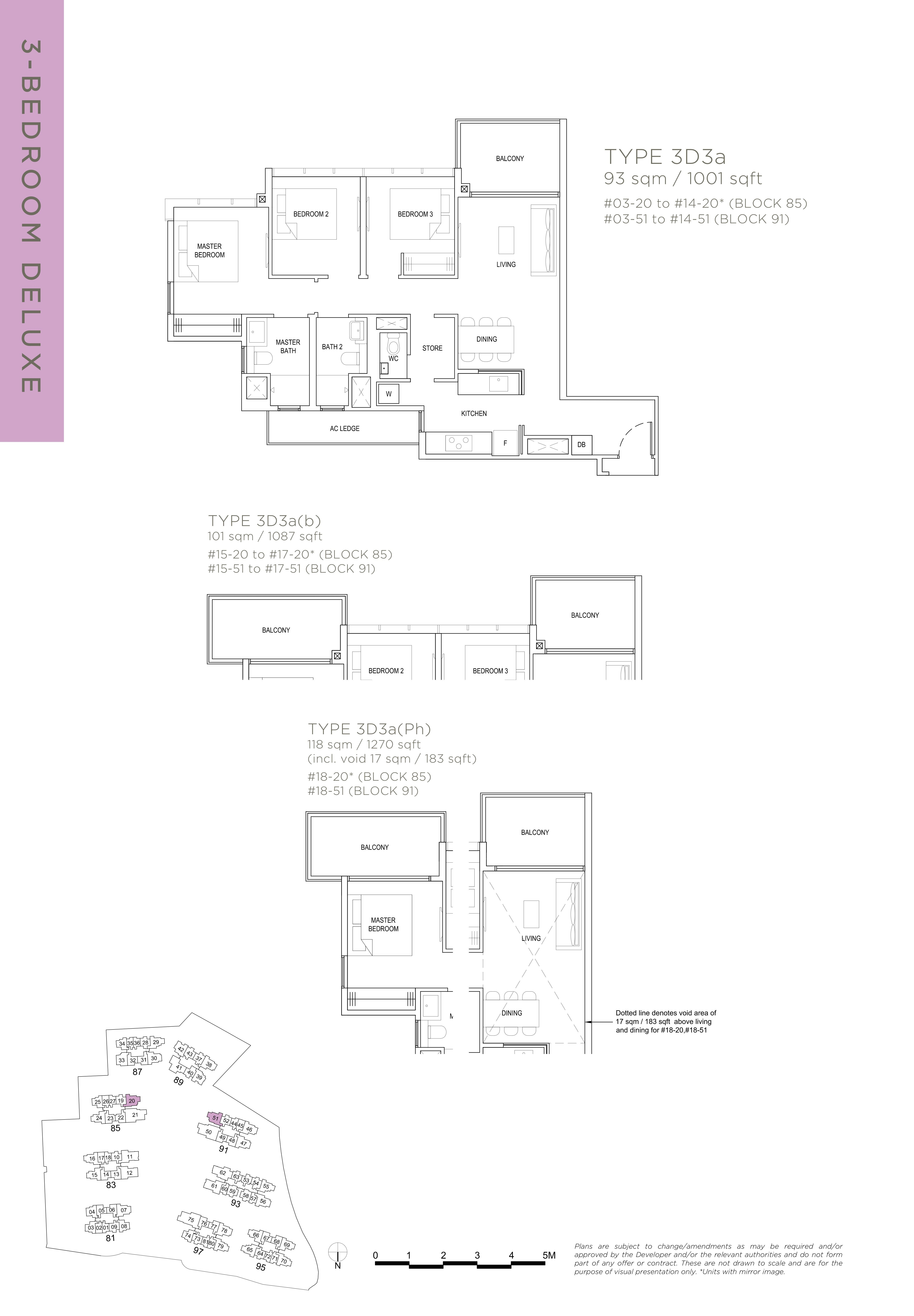 The Florence Residences 3-bedroom 3卧房 -3D3a