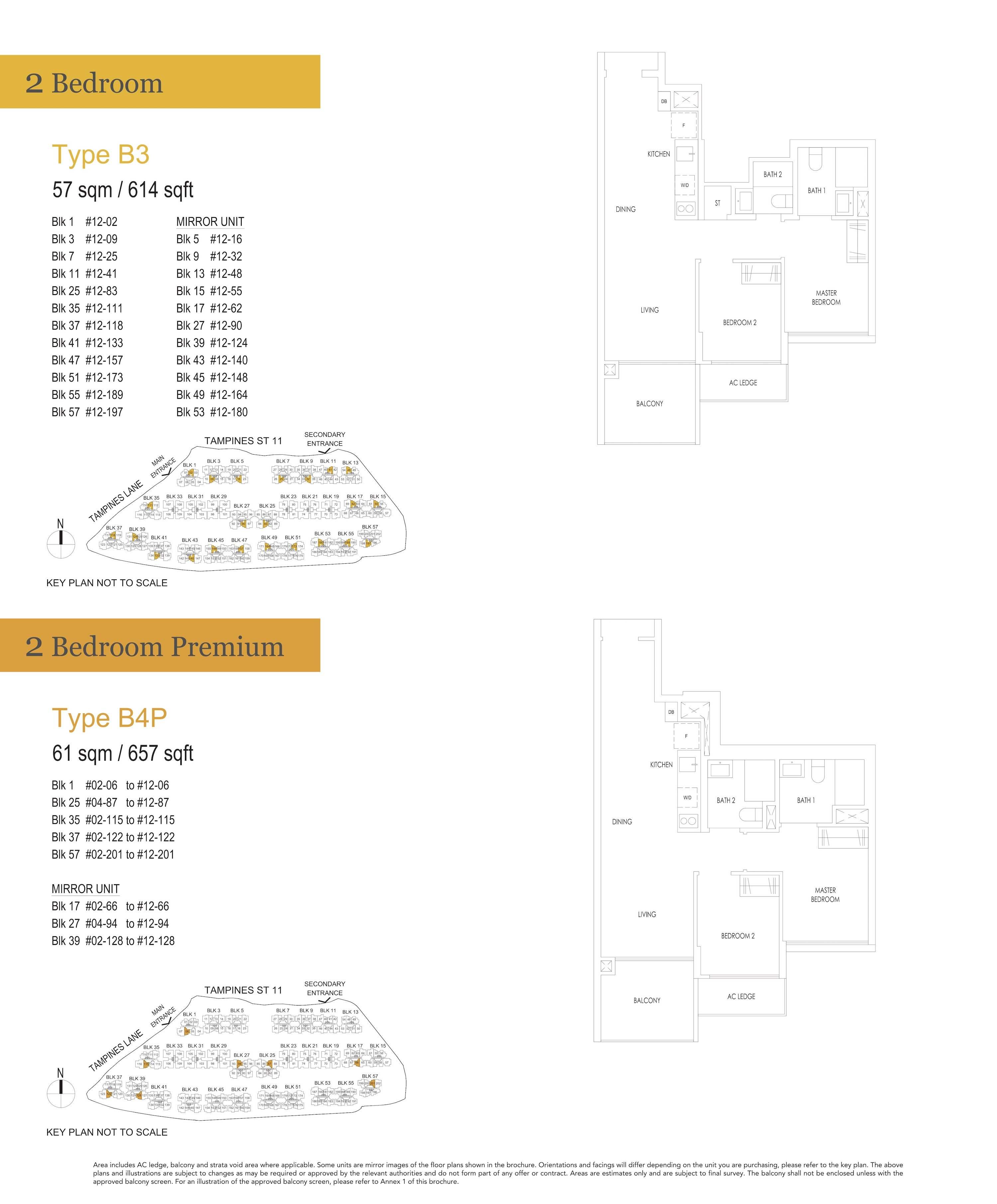 Treasure At Tampines 聚宝园 2-bedroom 2卧房 B3 B4P