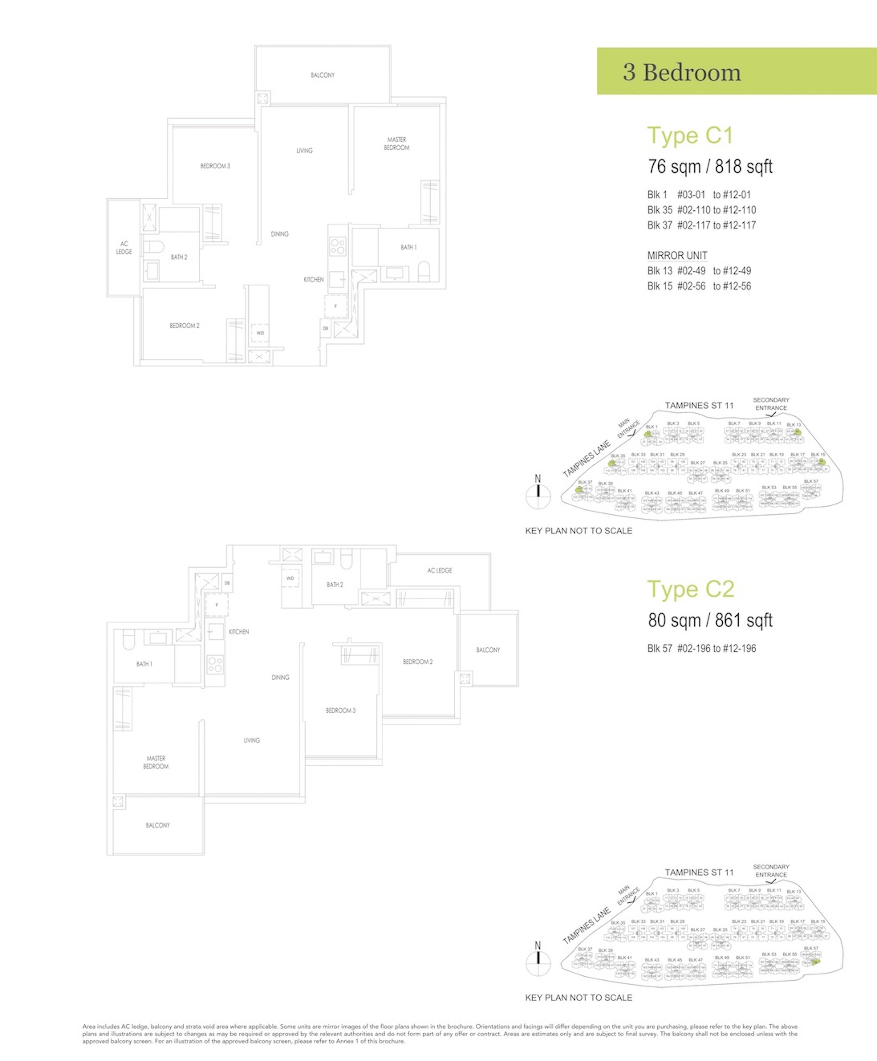 Treasure At Tampines 聚宝园 3-bedroom 3卧房 C1 C2