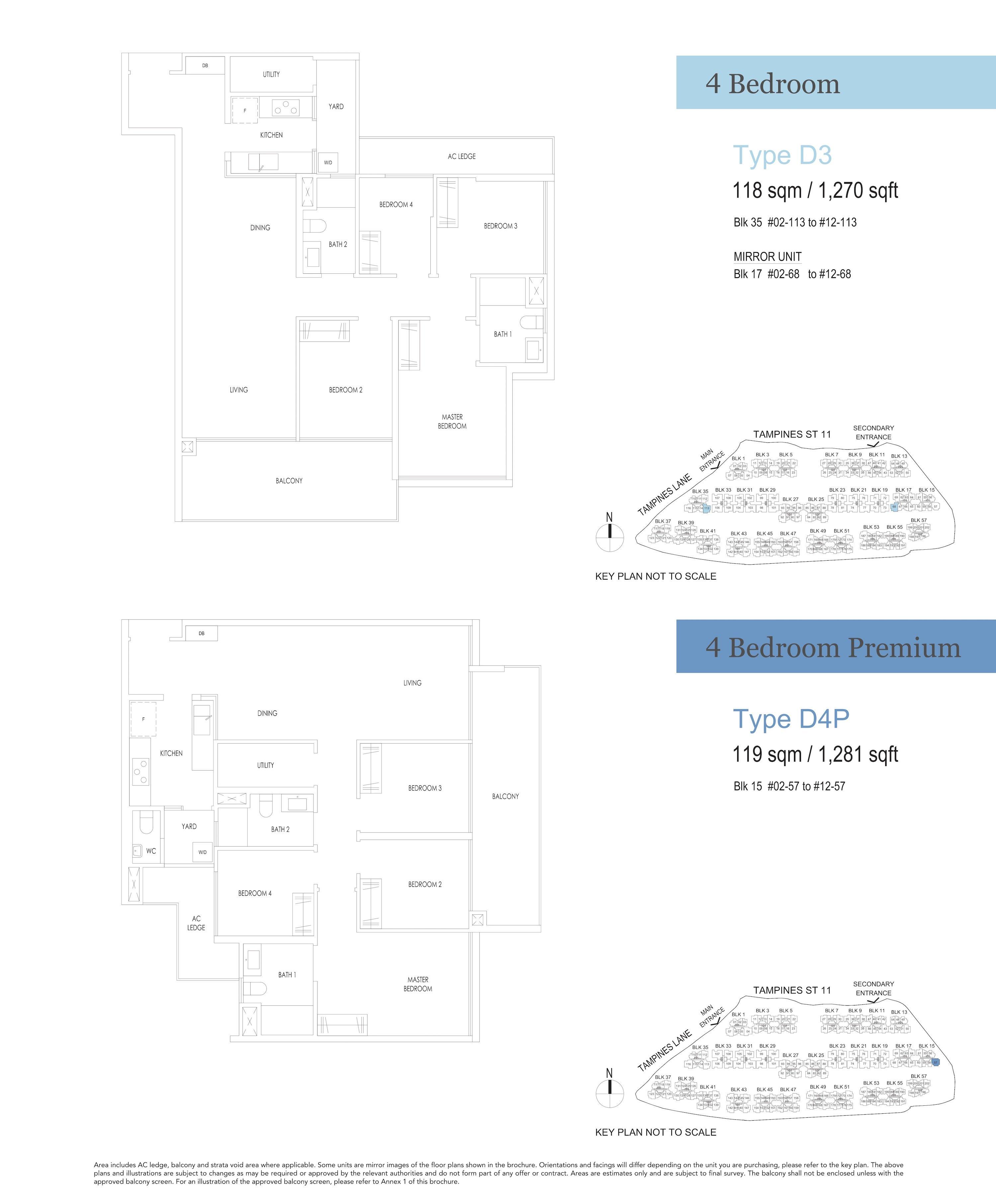 Treasure At Tampines 聚宝园 4-bedroom 4卧房 D3 D4P
