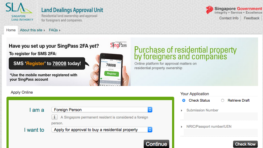 foreigner apply for restricted property Signapore 外籍人士购买受管制房产
