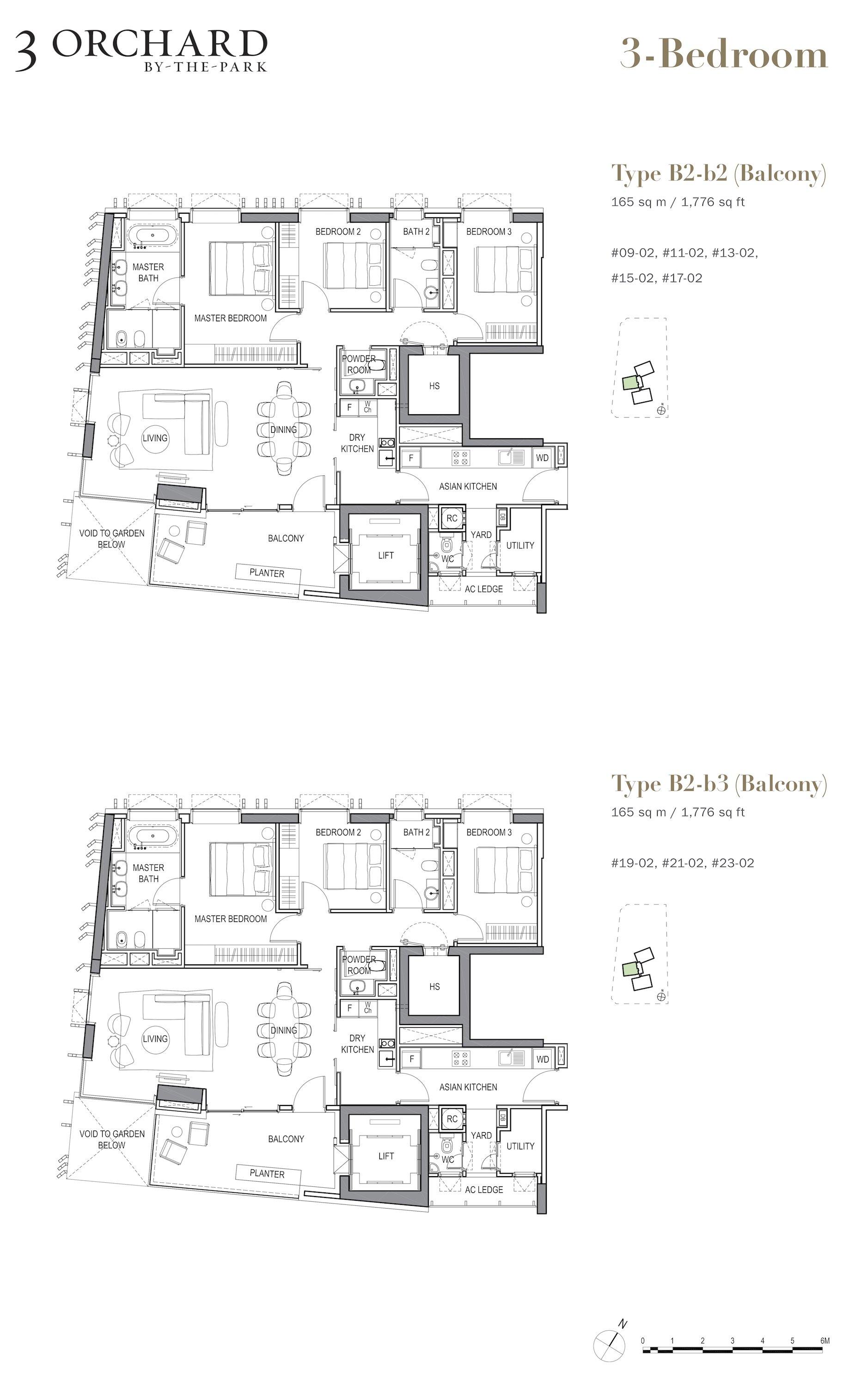 乌节三翠林 3 Orchard By The Park 3 bedroom balcony b2-b2b3