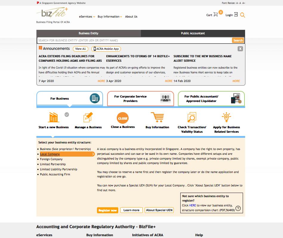 通过企业和会计注册局ACRA BizFile+ 注册公司