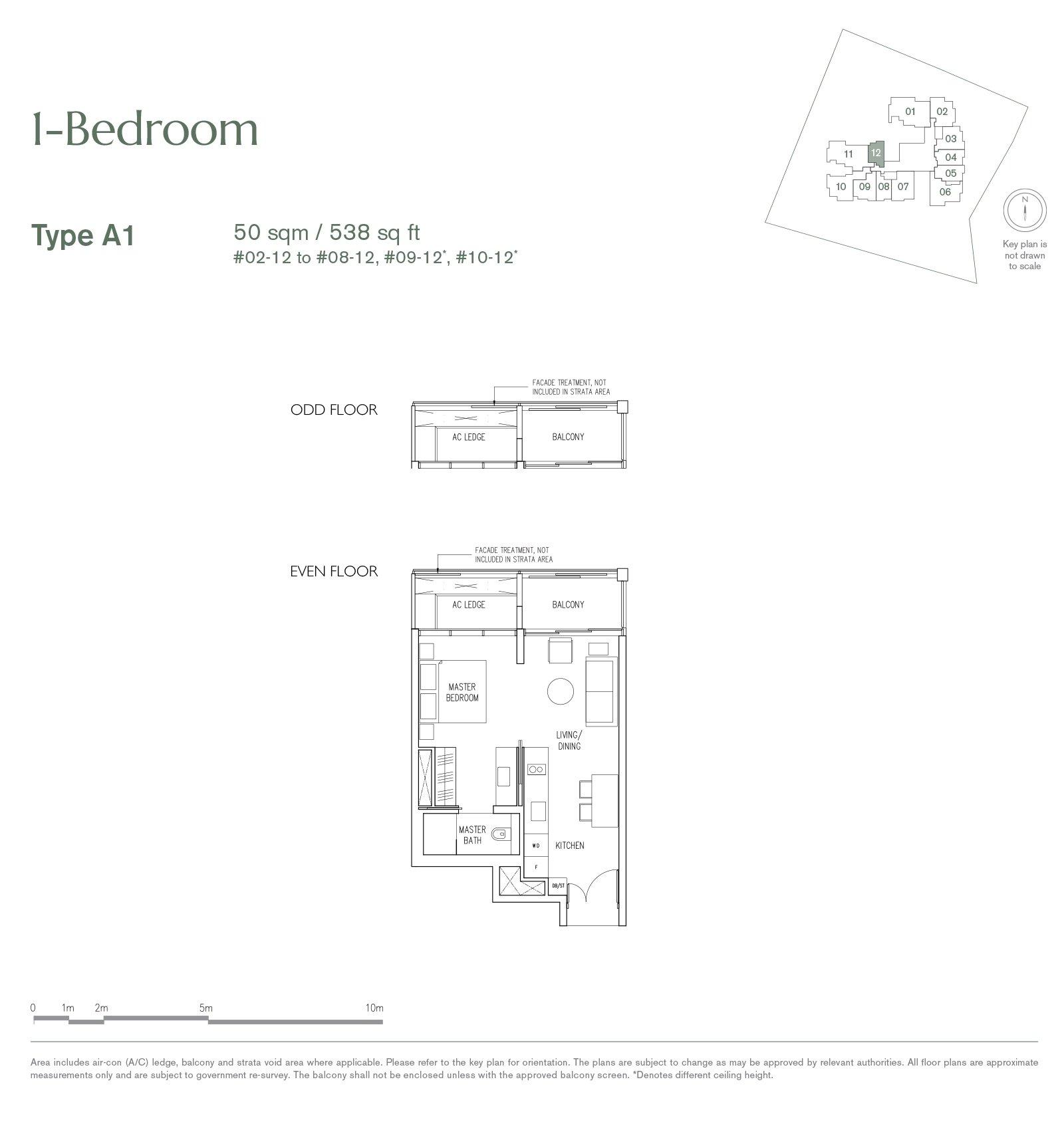 19 Nassim 纳森山公寓 floor plan 1-bedroom A1