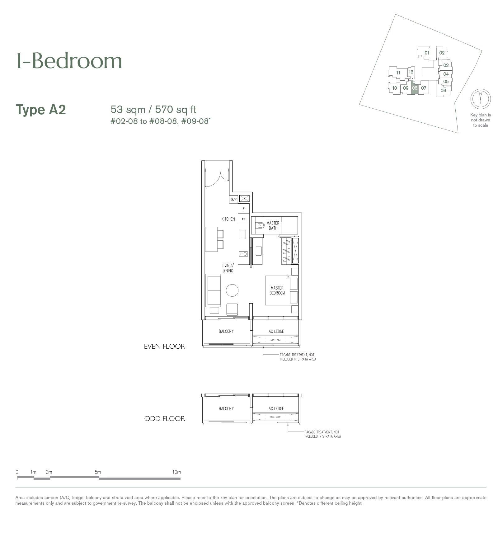19 Nassim 纳森山公寓 floor plan 1-bedroom A2