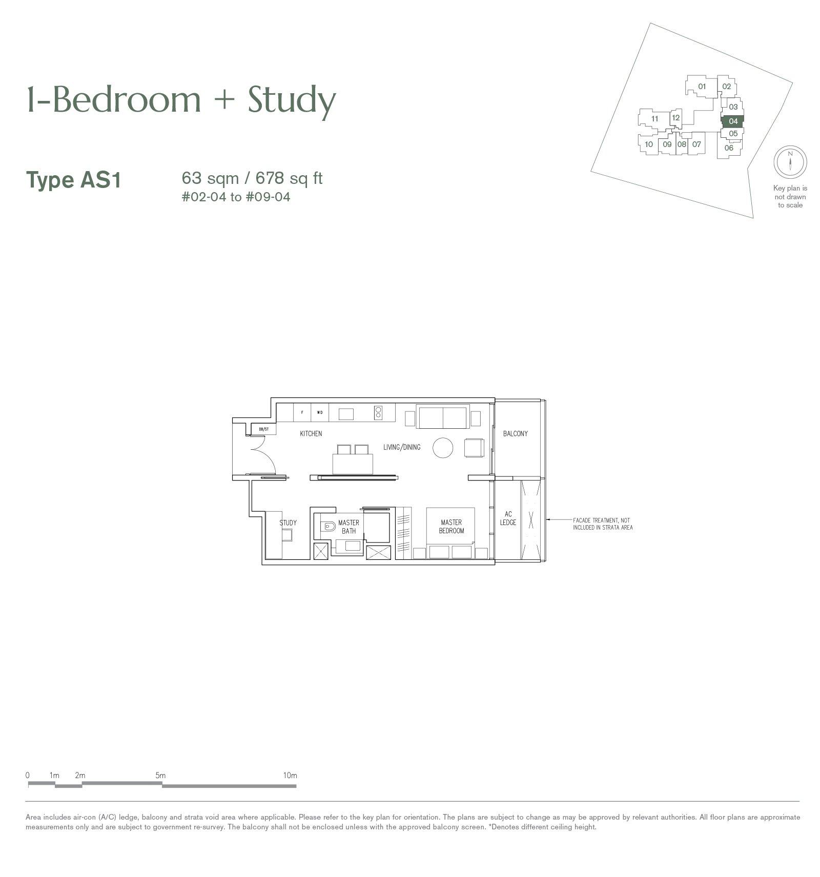 19 Nassim 纳森山公寓 floor plan 1-bedroom AS1