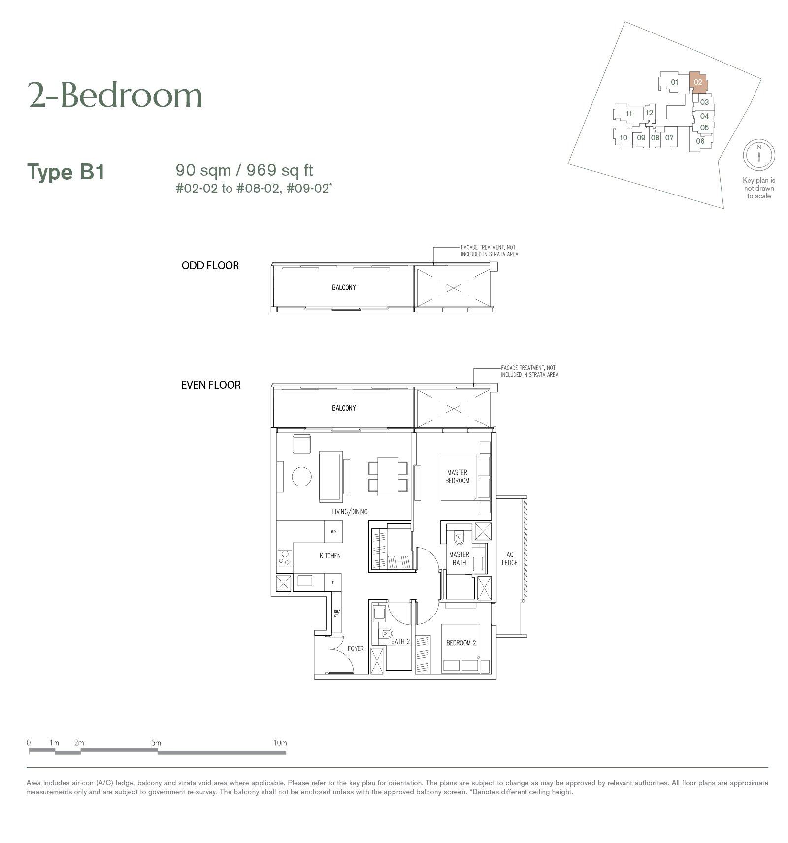 9 Nassim 纳森山公寓 floor plan 2-bedroom-B1