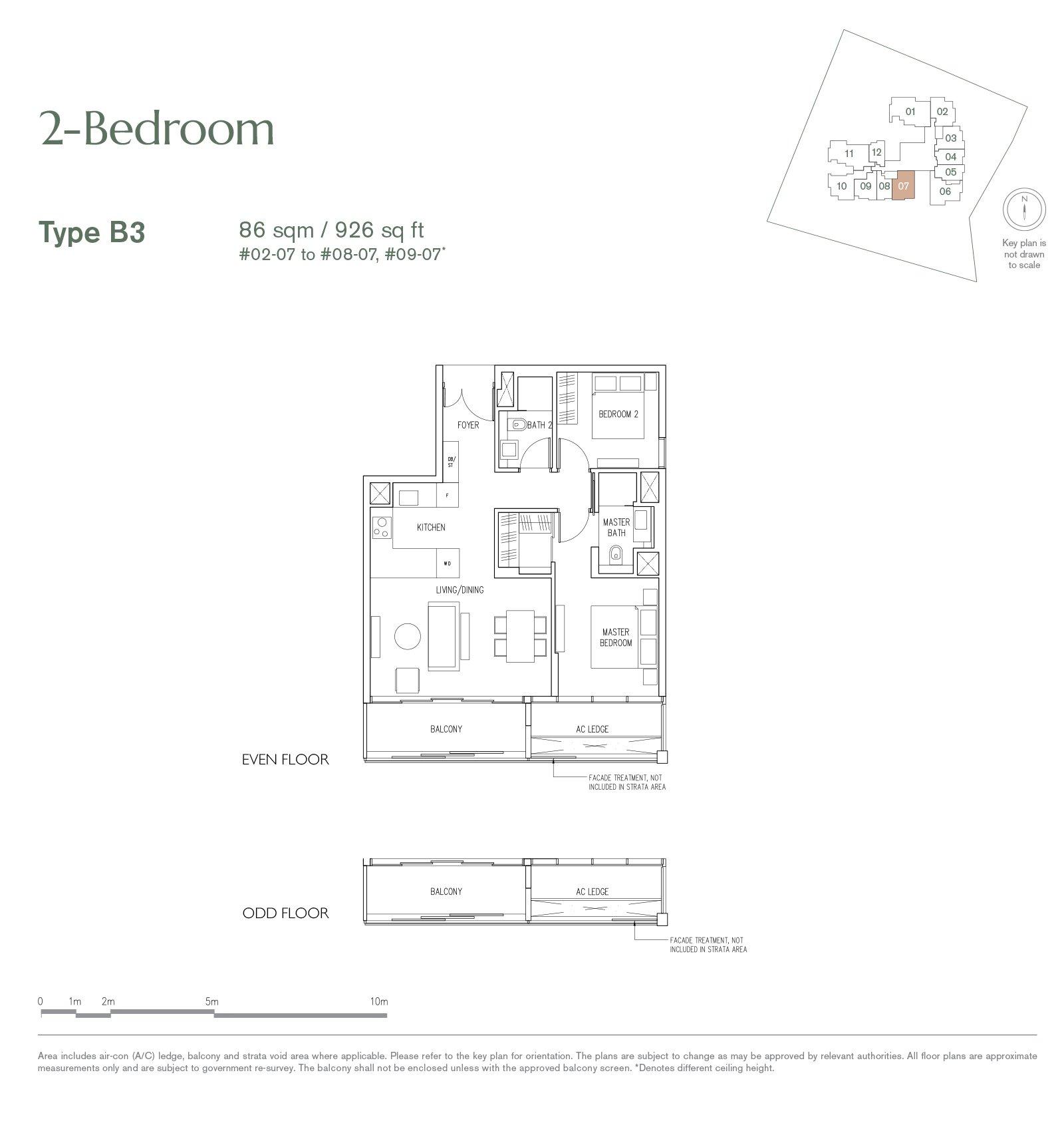 19 Nassim 纳森山公寓 floor plan 2-bedroom-B3