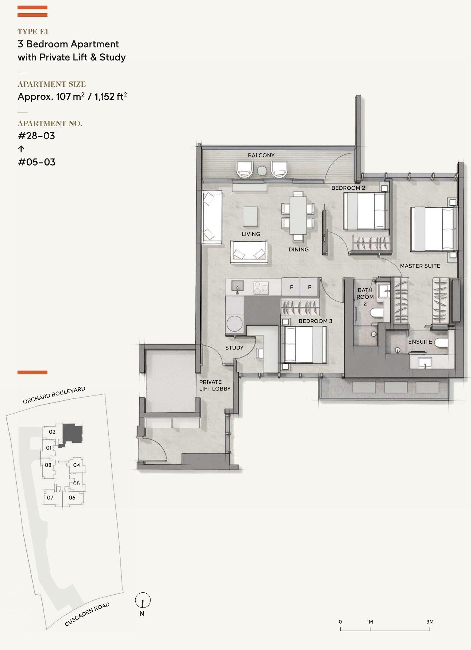 Cuscaden Reserve 公寓 floor plan 3 bedroom study