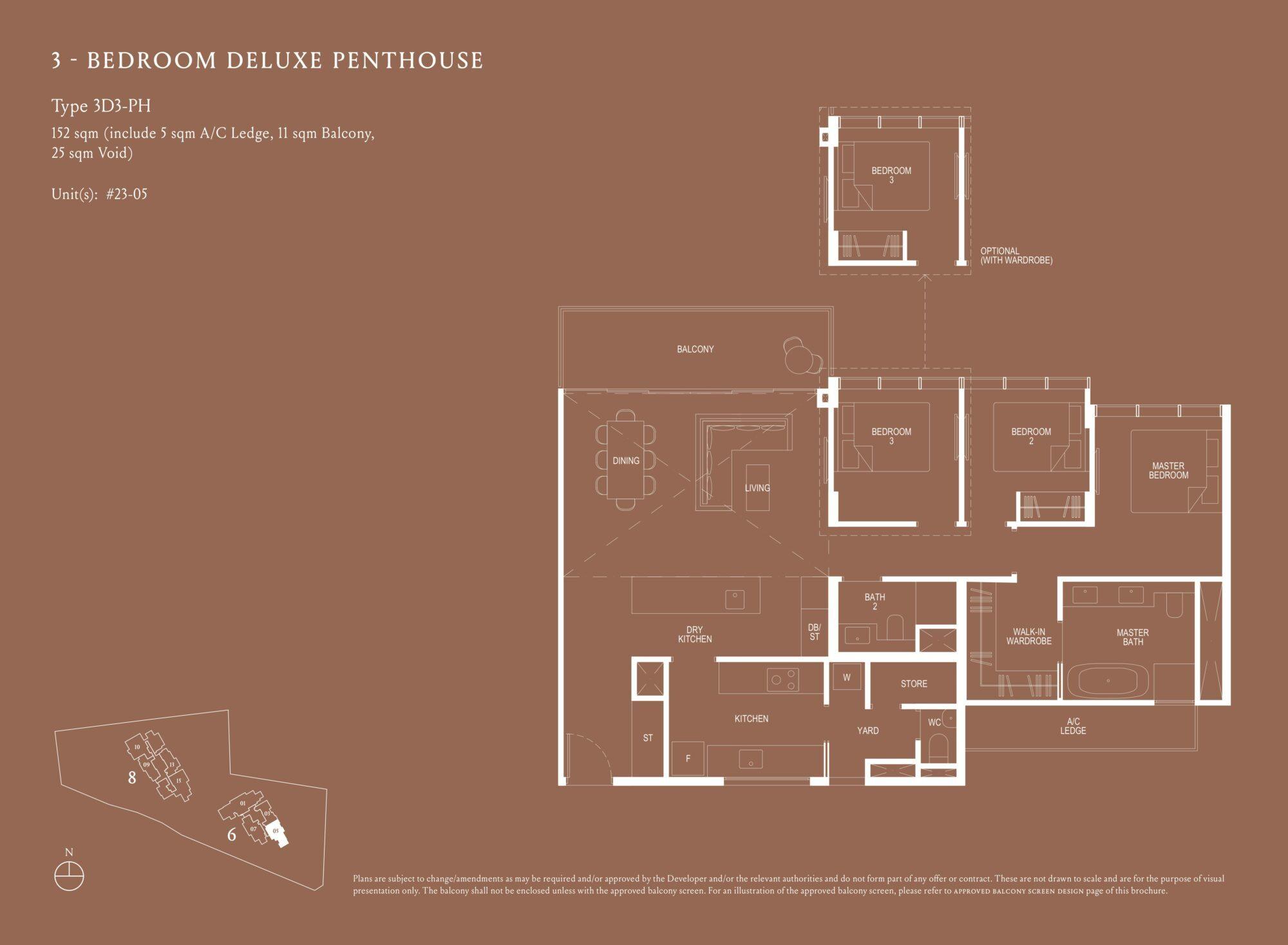 Kopar At Newton 纽顿铜源 3-bedroom deluxe penthouse 3D3-PH floor plan