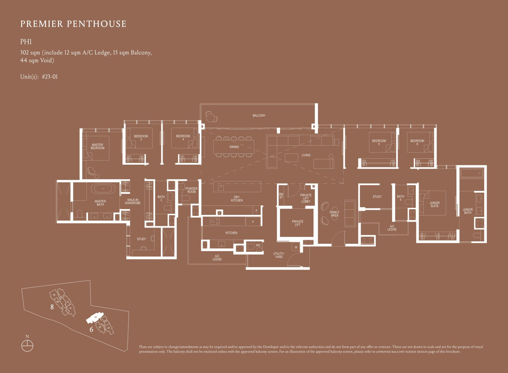 Kopar At Newton 纽顿铜源 premier penthouse 302 sqm PH1 floor plan