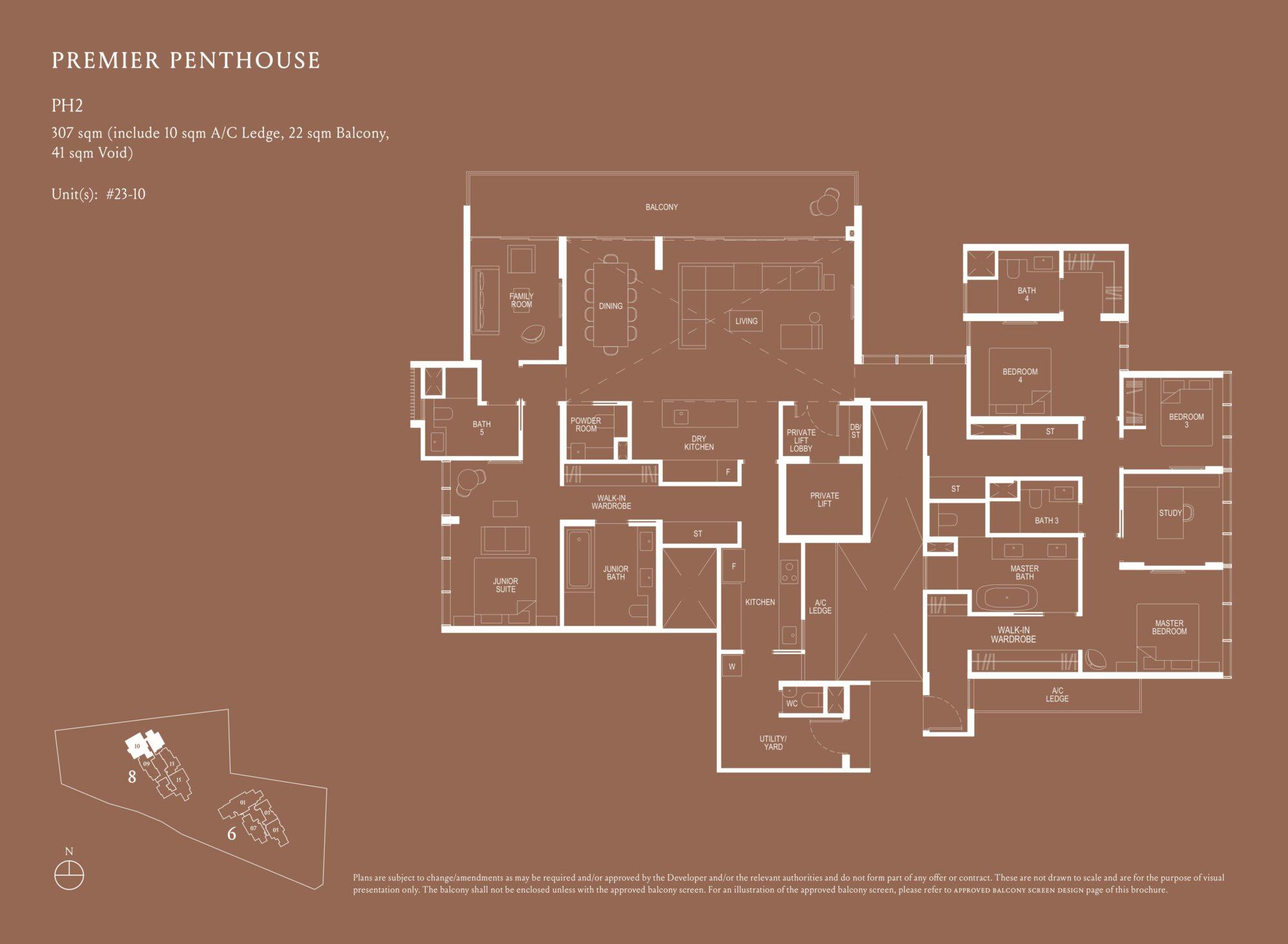 Kopar At Newton 纽顿铜源 premier penthouse 307 sqm PH2 floor plan