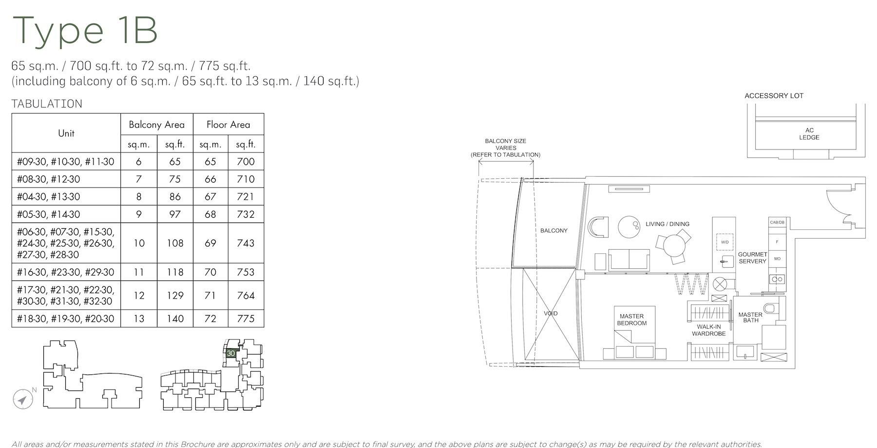 Marina One Residences 滨海盛景豪苑 floor plans 1 bedroom 1B