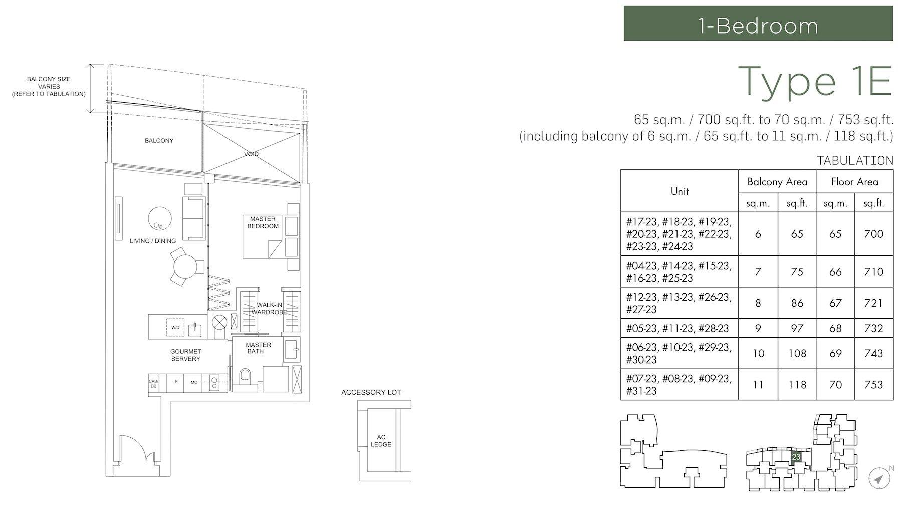 Marina One Residences 滨海盛景豪苑 floor plans 1 bedroom 1C