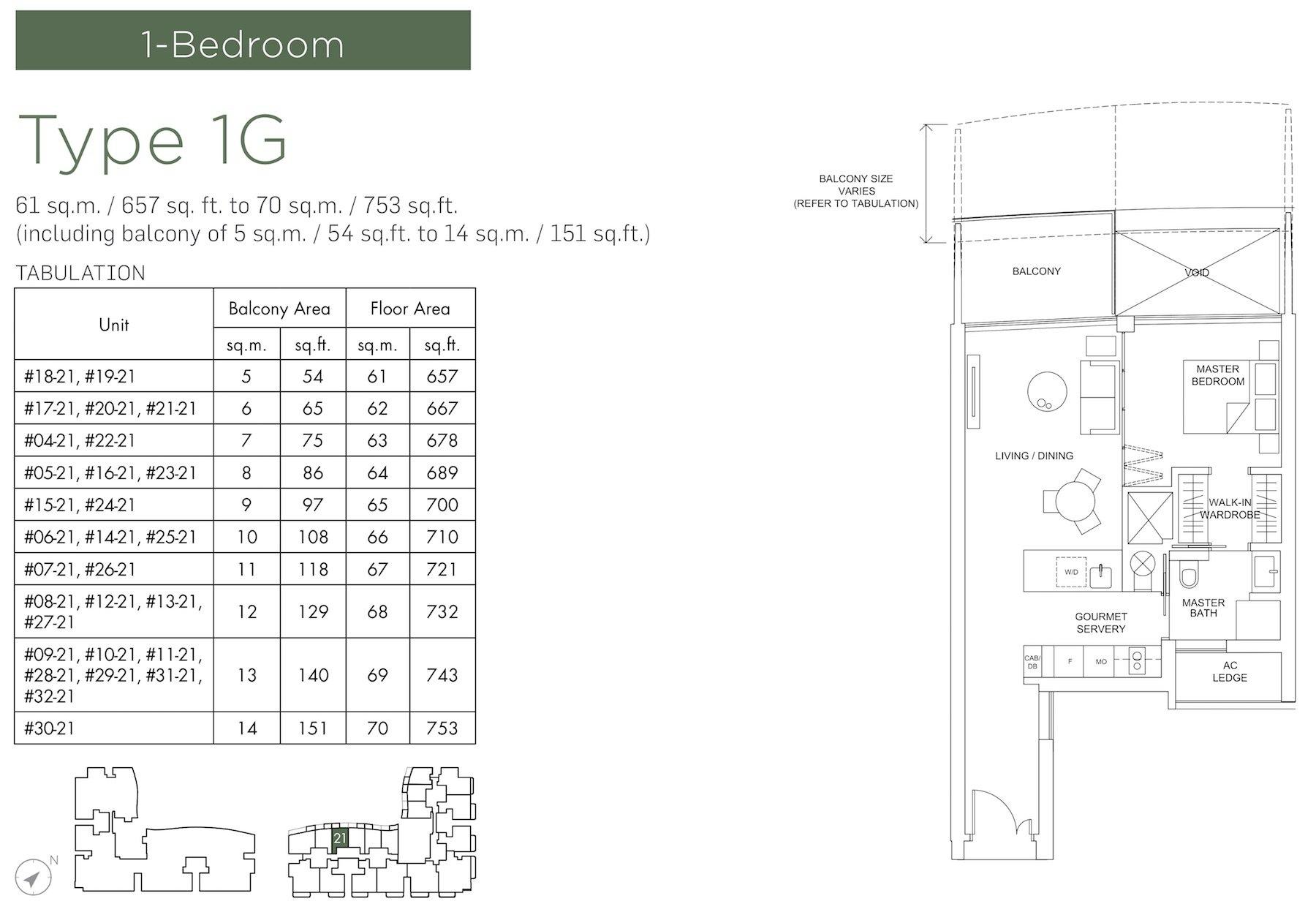 Marina One Residences 滨海盛景豪苑 floor plans 1 bedroom 1G
