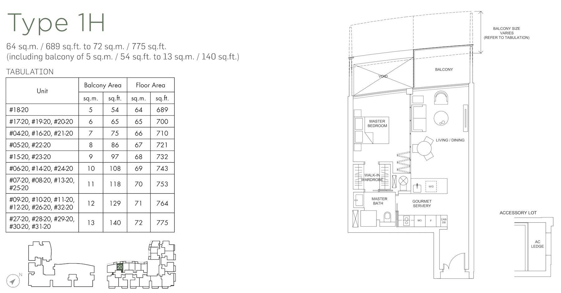 Marina One Residences 滨海盛景豪苑 floor plans 1 bedroom 1H